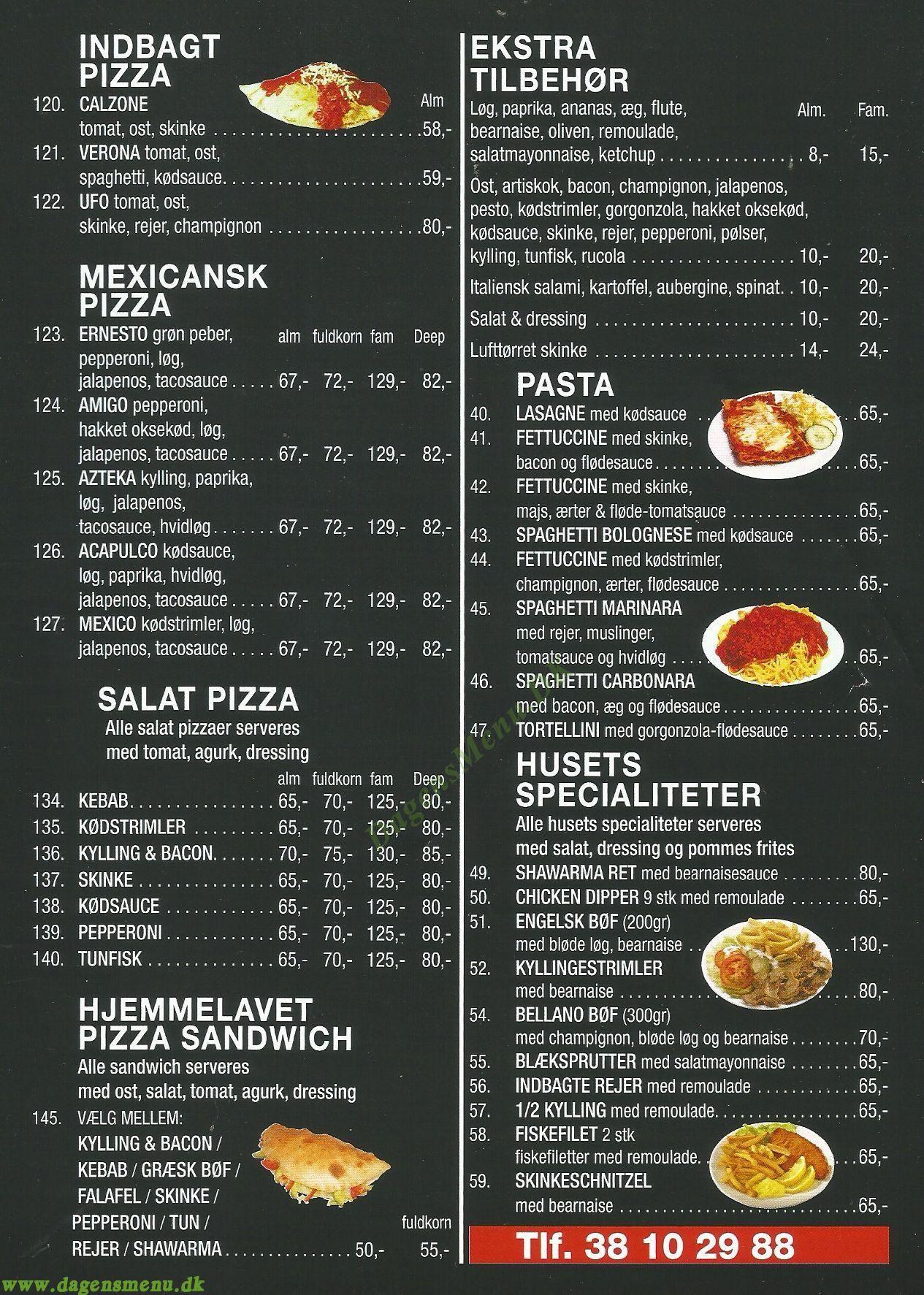 Isola Pizza - Menukort