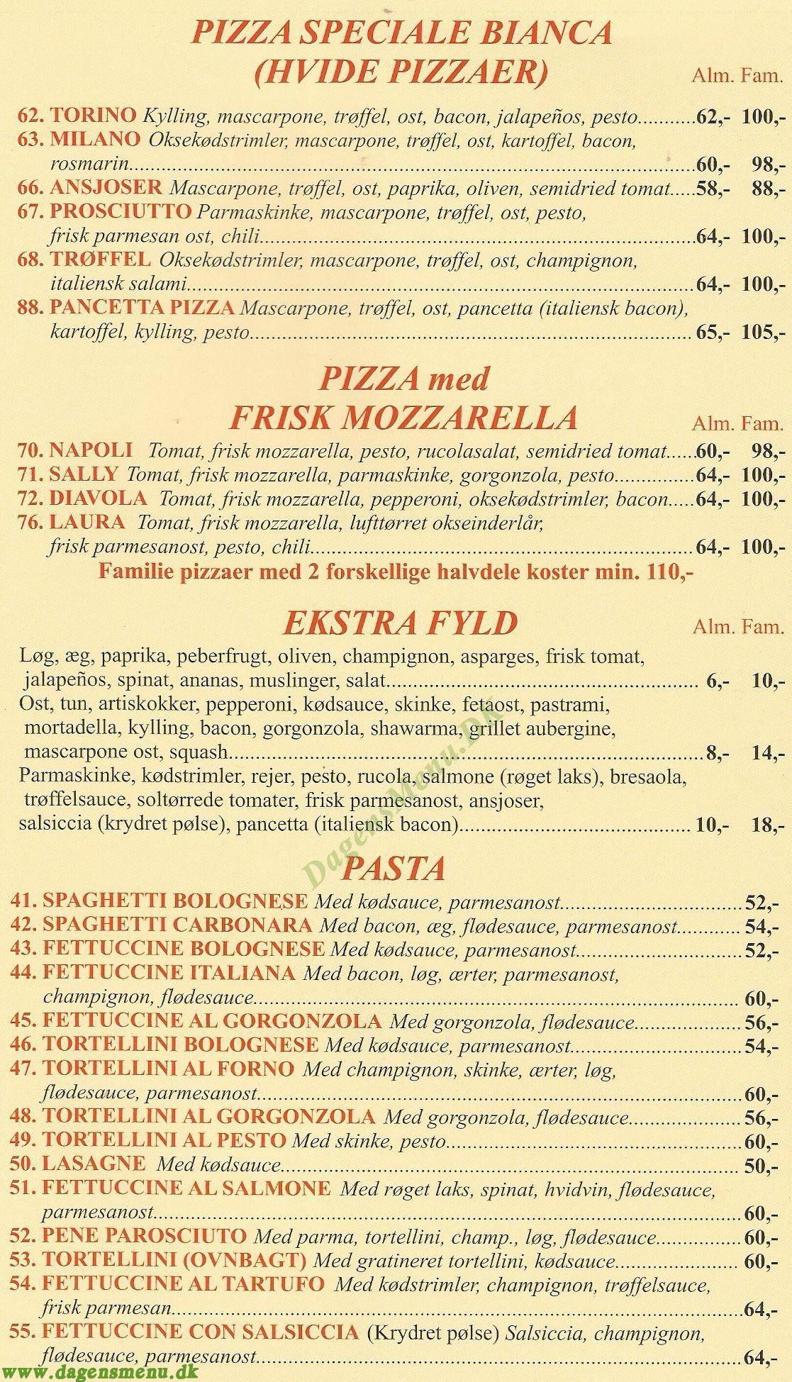PRONTO PIZZA ITALIANA - Menukort
