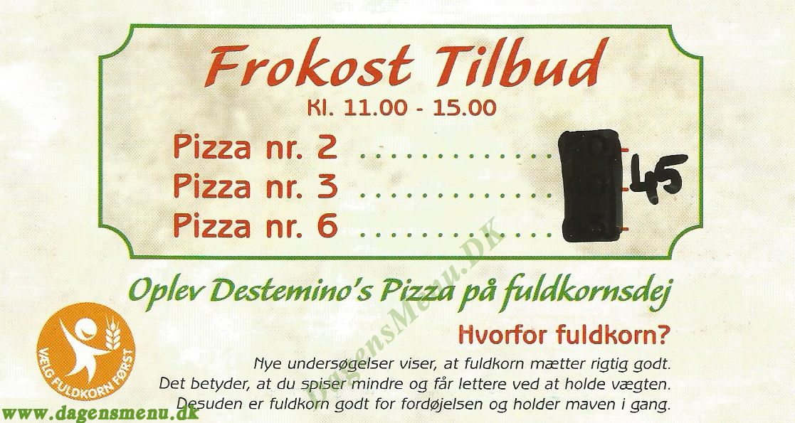 DESTEMINO PIZZA, BURGER, KEBAB - Menukort