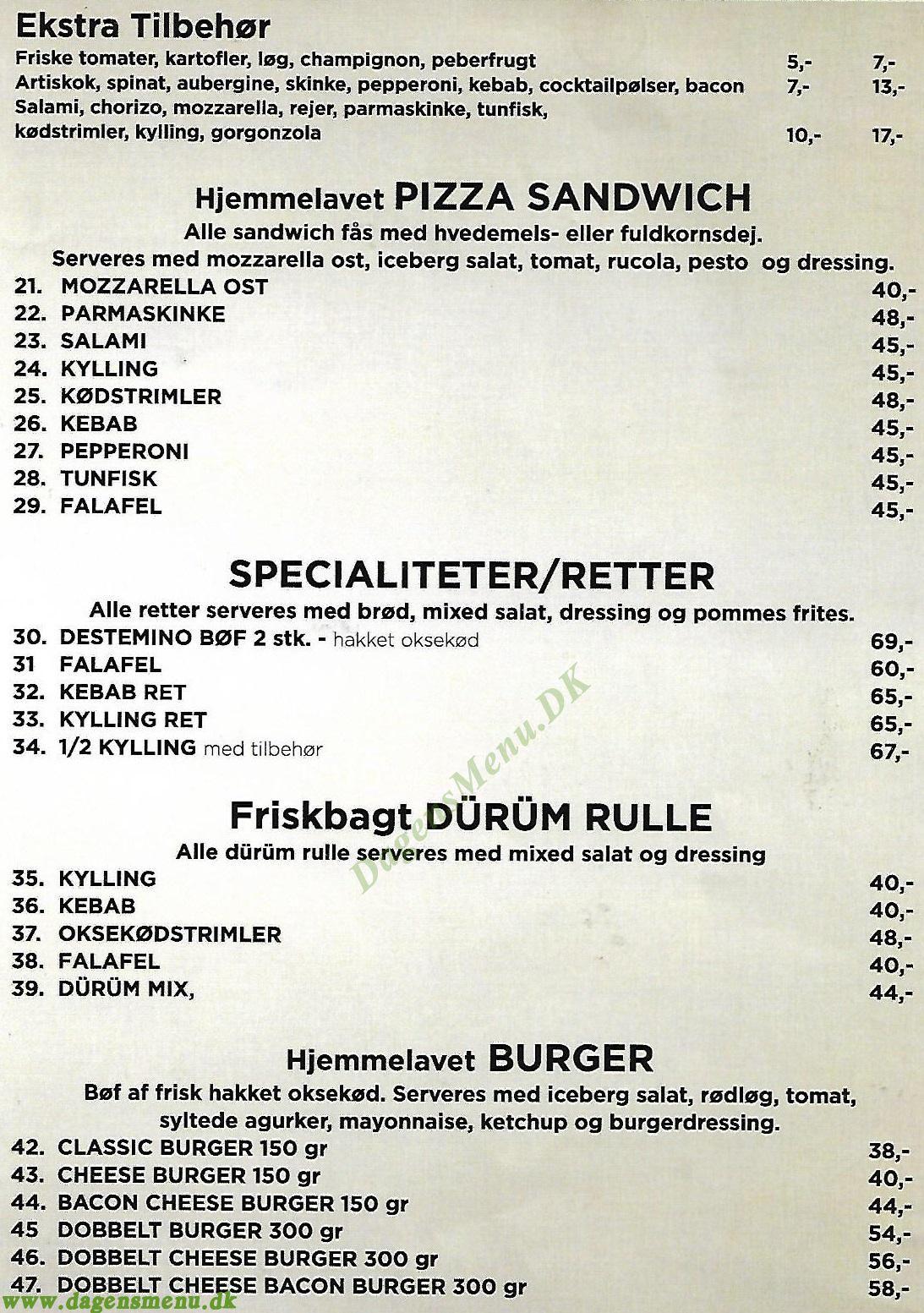 Destemino Pizza Kebab - Menukort
