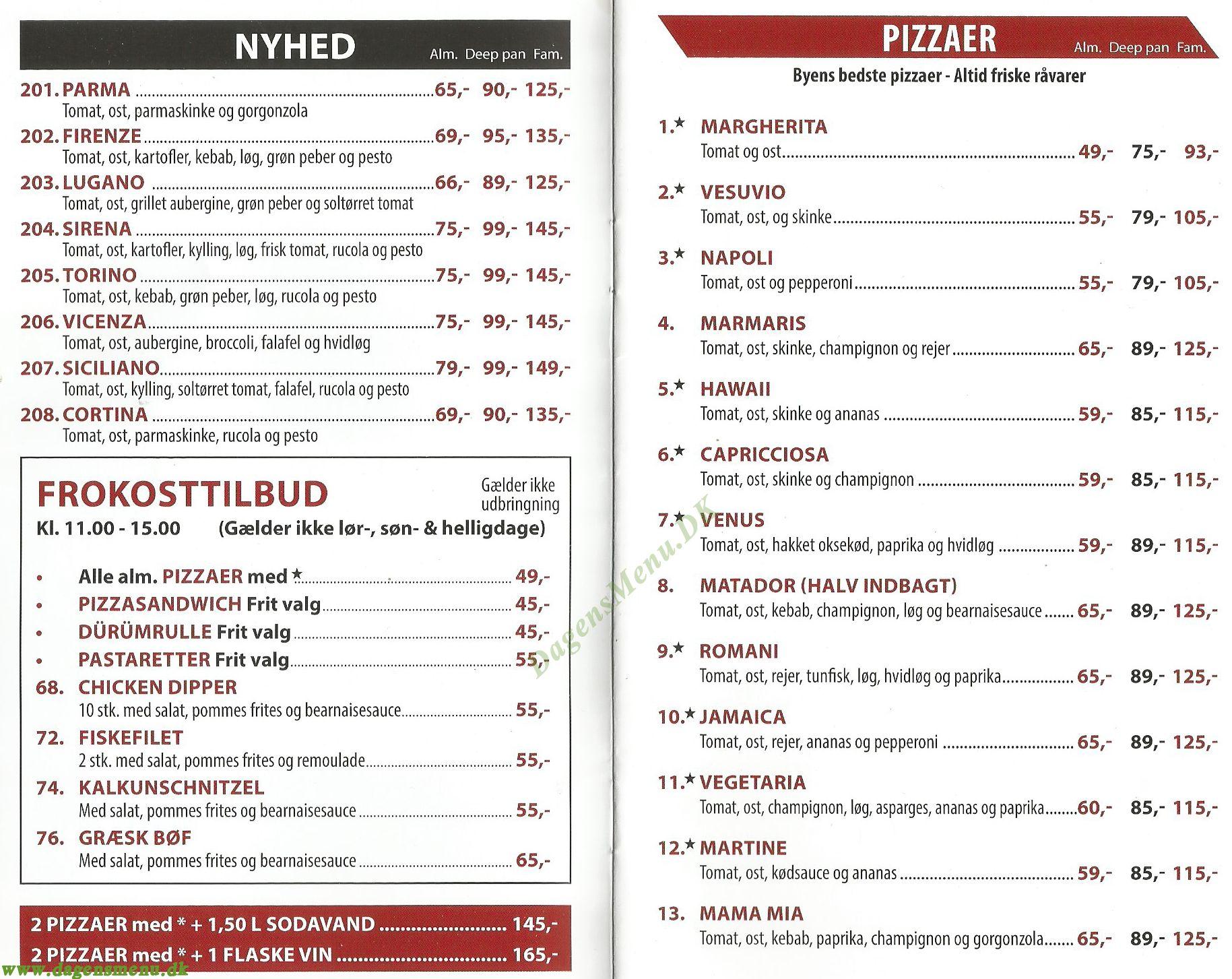 Pizza 2000 - Menukort