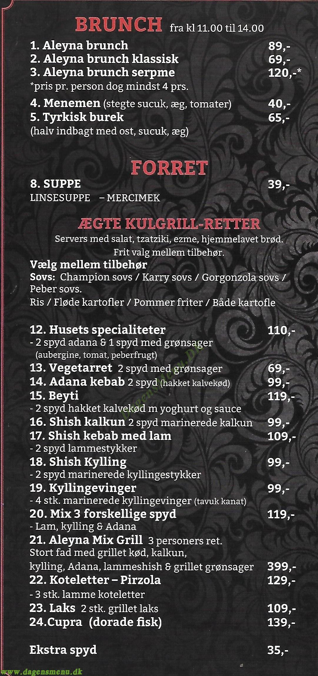 Aleyna Restaurant - Menukort