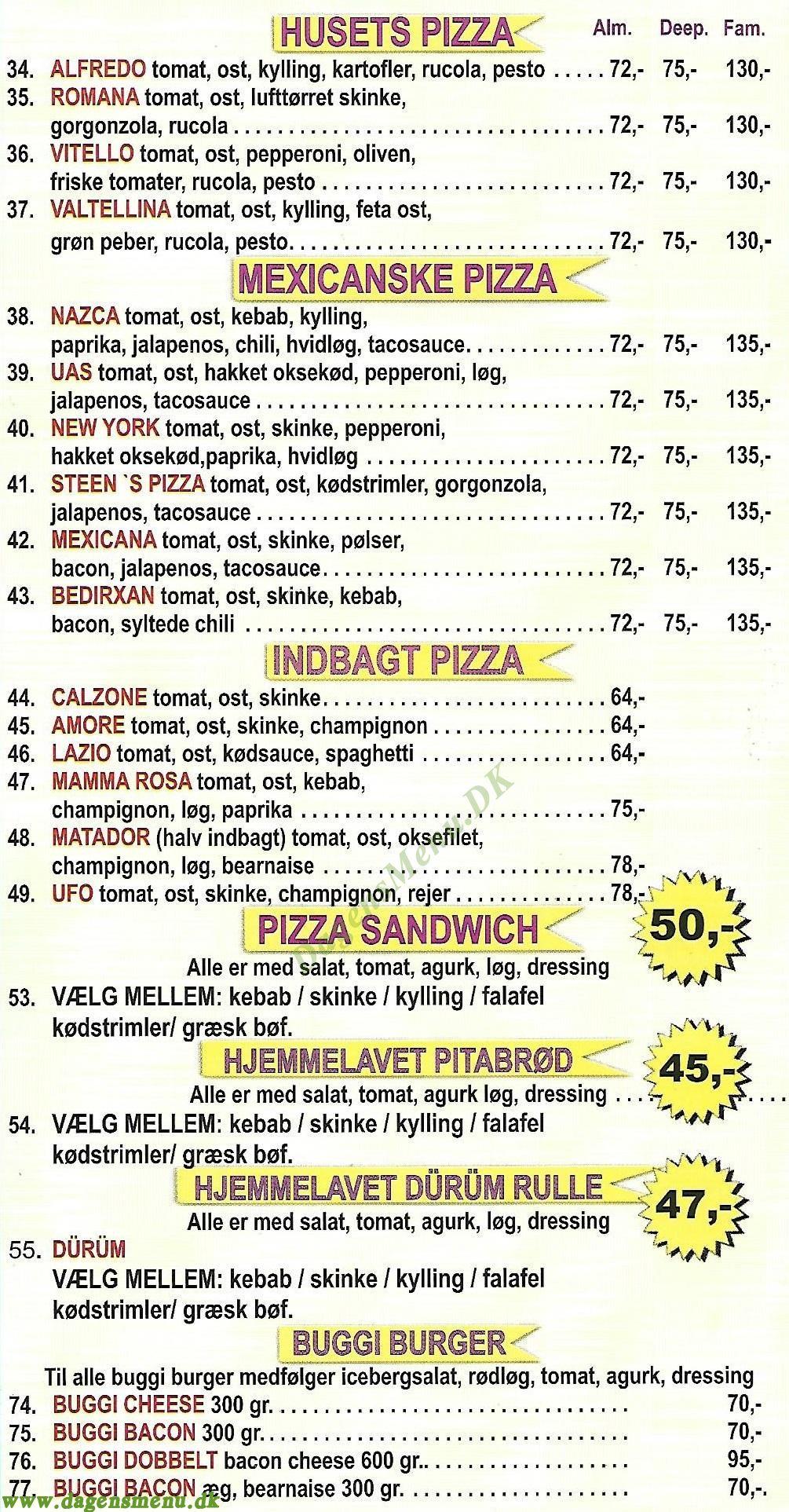 Buddinge Pizza - Menukort