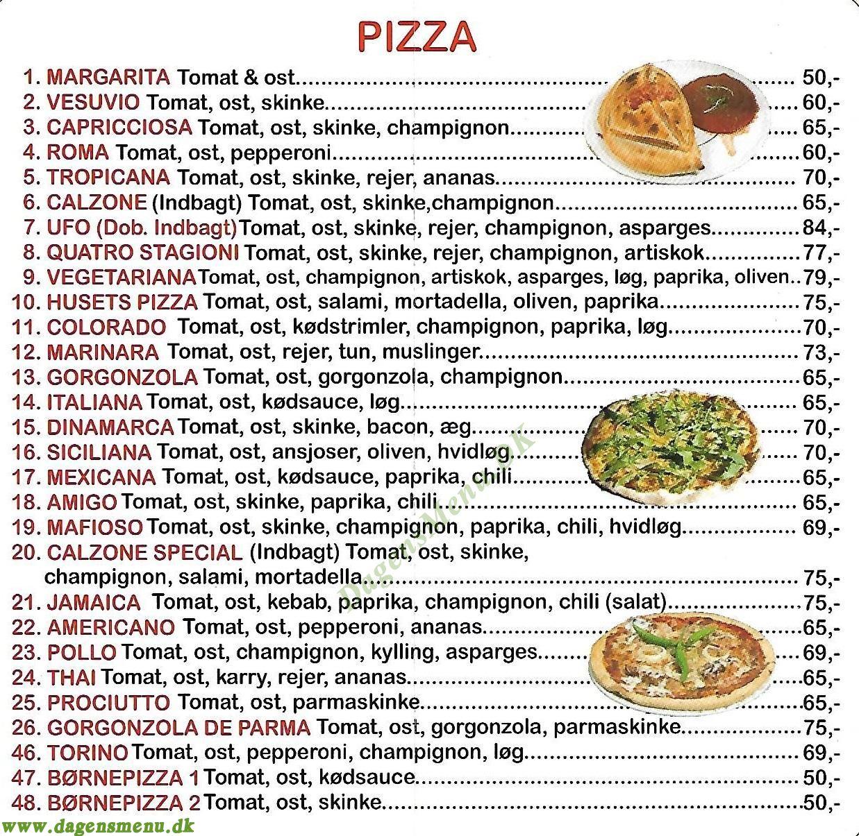 Det Lille Pizzahus - Menukort
