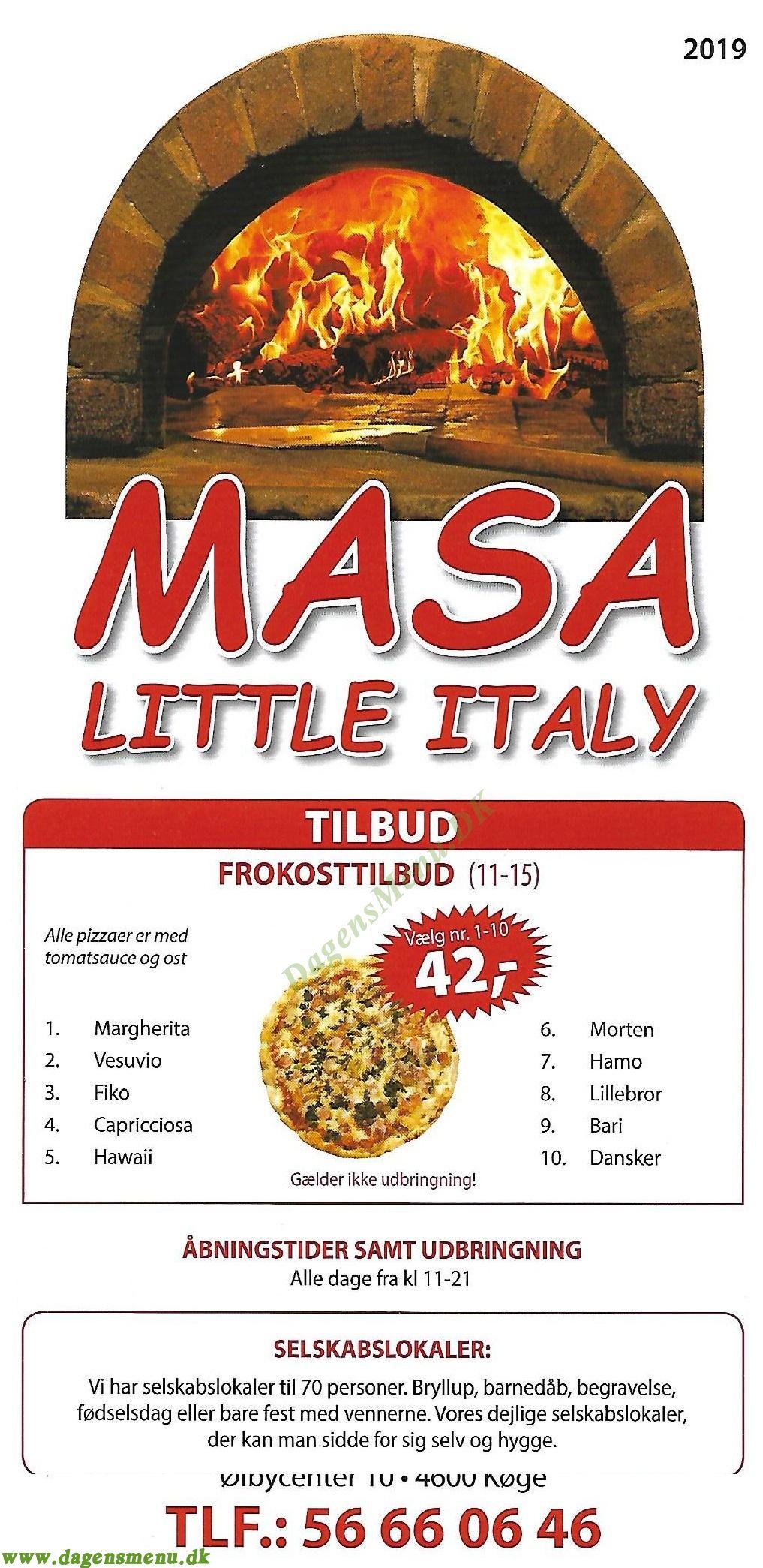 Masa Little Italy - Menukort