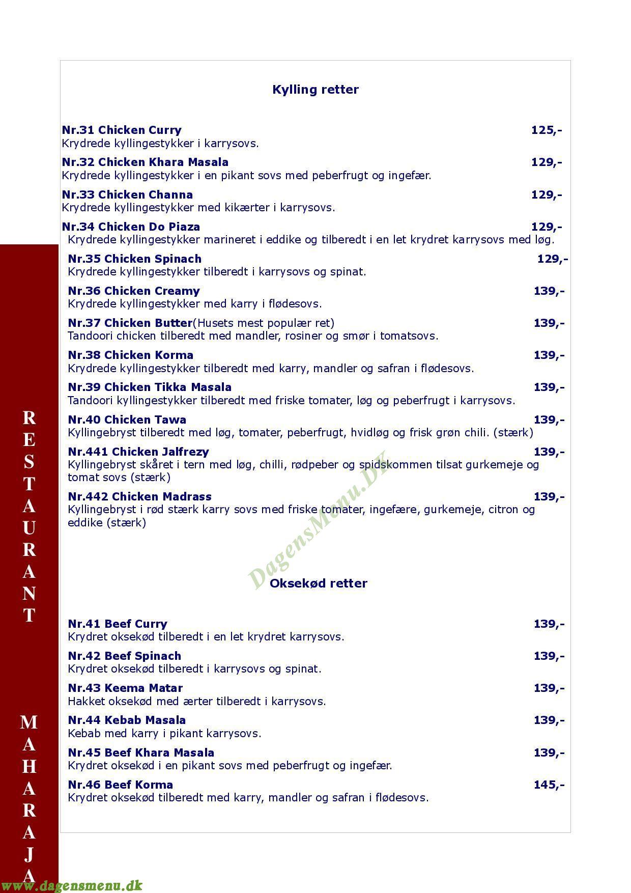 Indian Maharaja Restaurant - Menukort