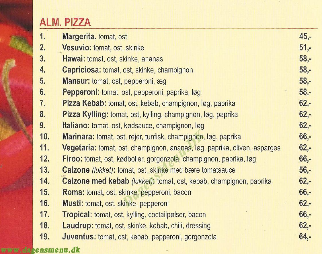 Chili's Pizza & Kebab House - Menukort