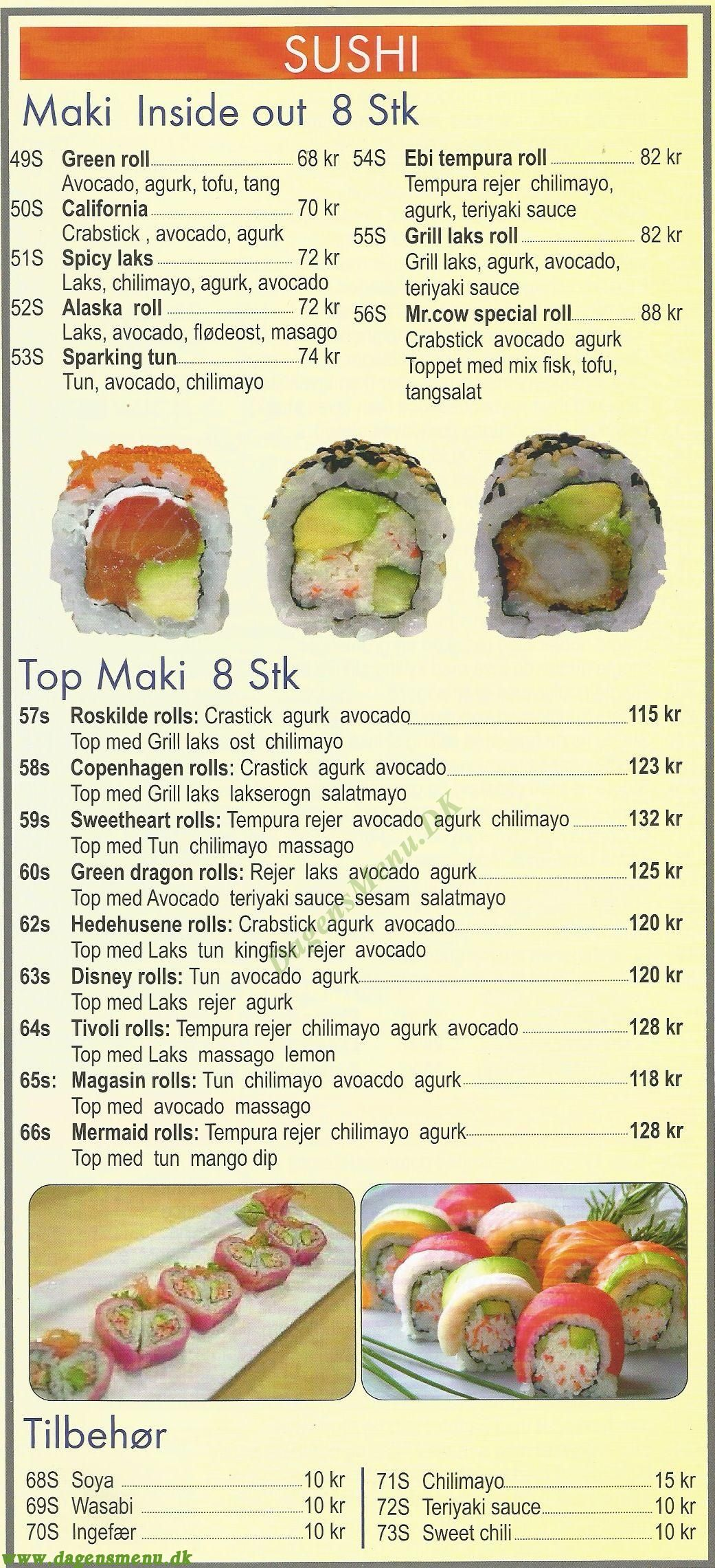 Mr. Cow's Sushi & Kina Grill - Menukort