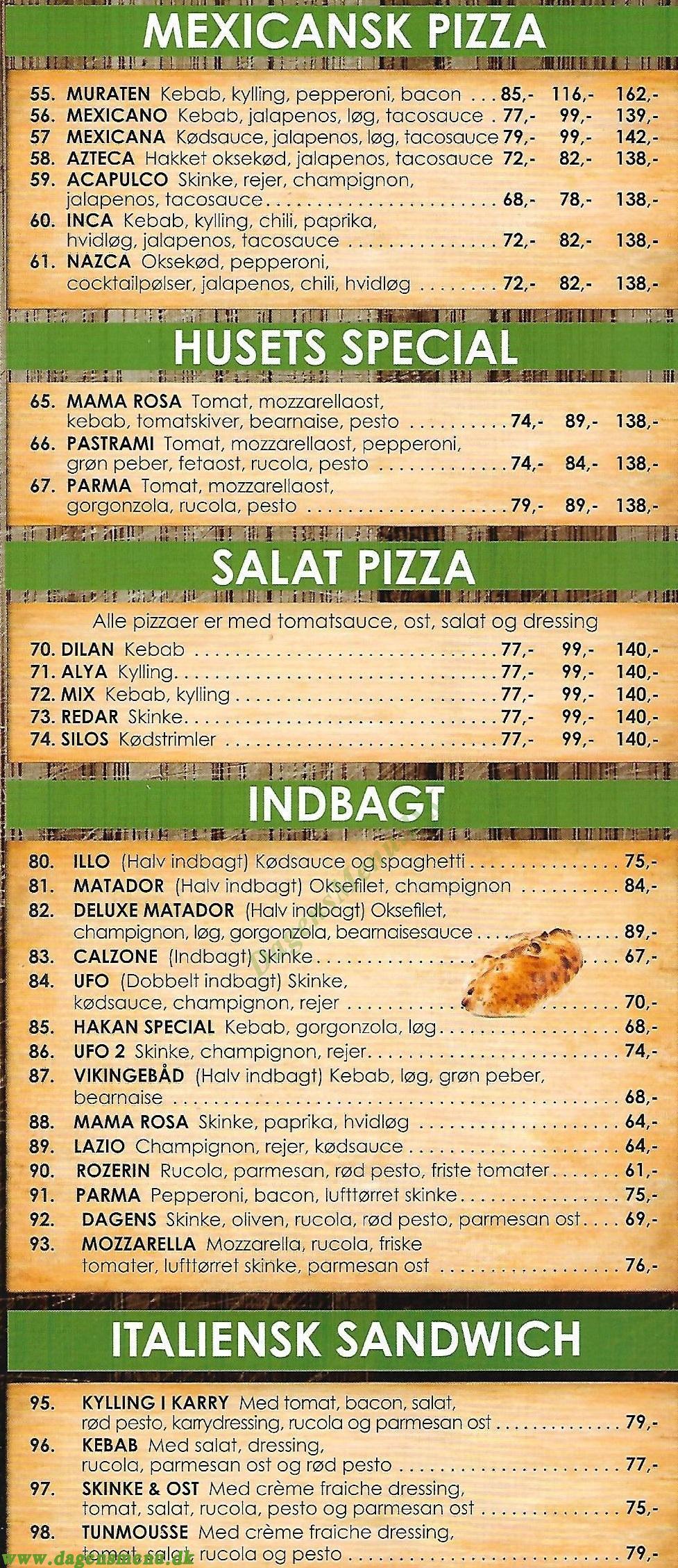 Elite Pizza - Menukort