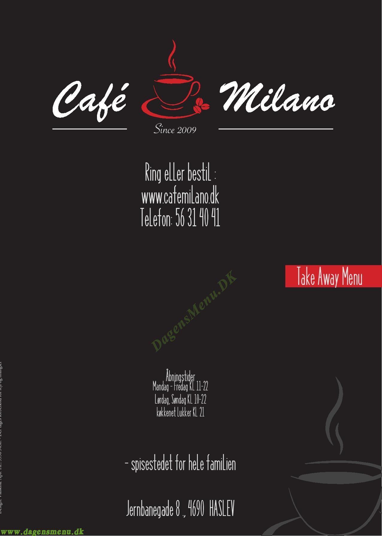 Cafe Milano - Menukort