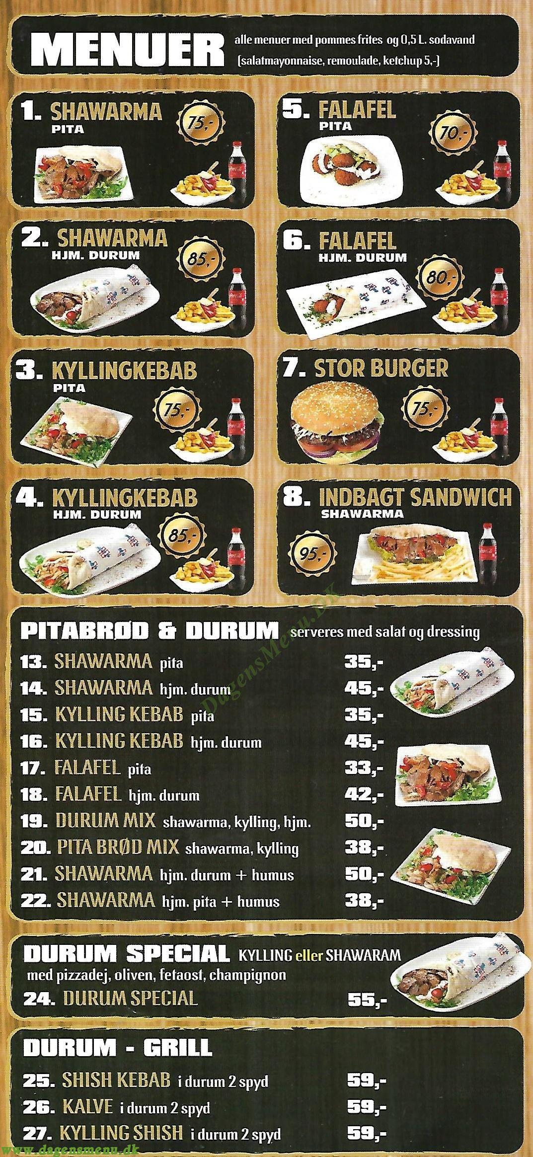 Barakat Grill og Pizza - Menukort