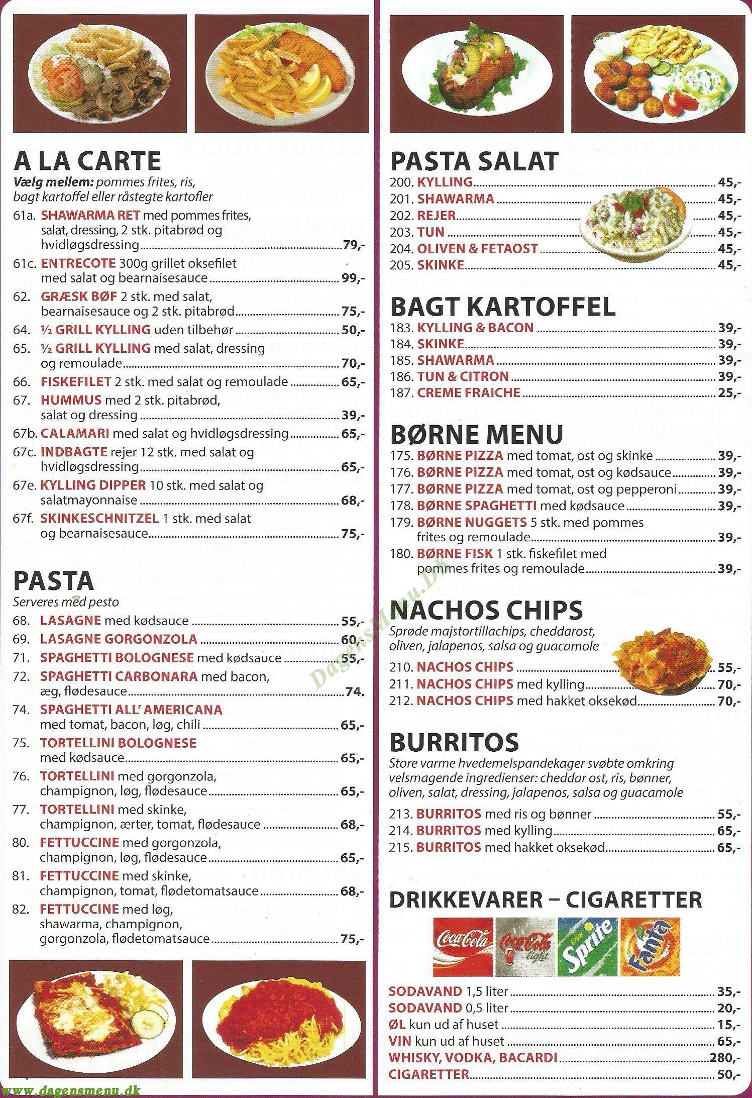 Fiorentina 1 pizza - Menukort