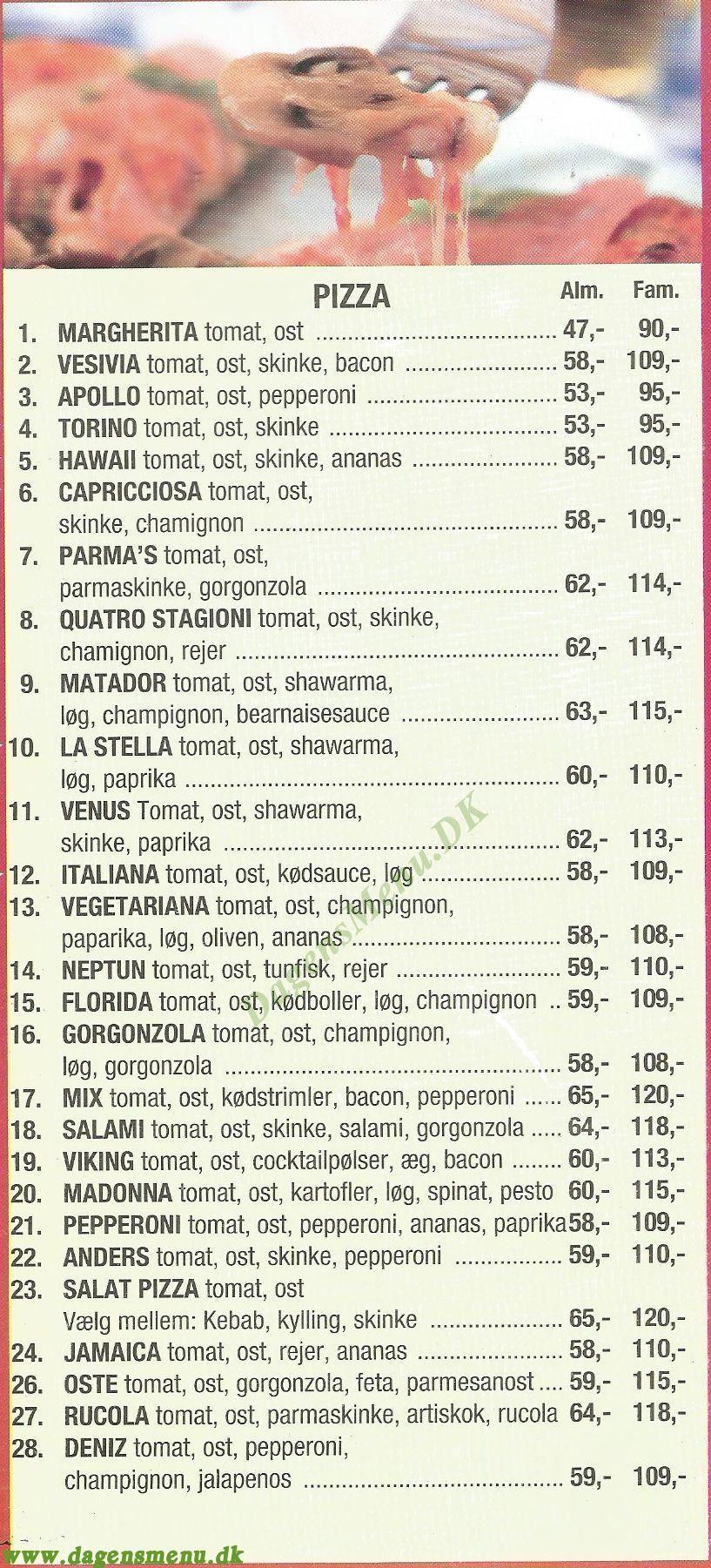 LA STELLA PIZZA & GRILL - Menukort