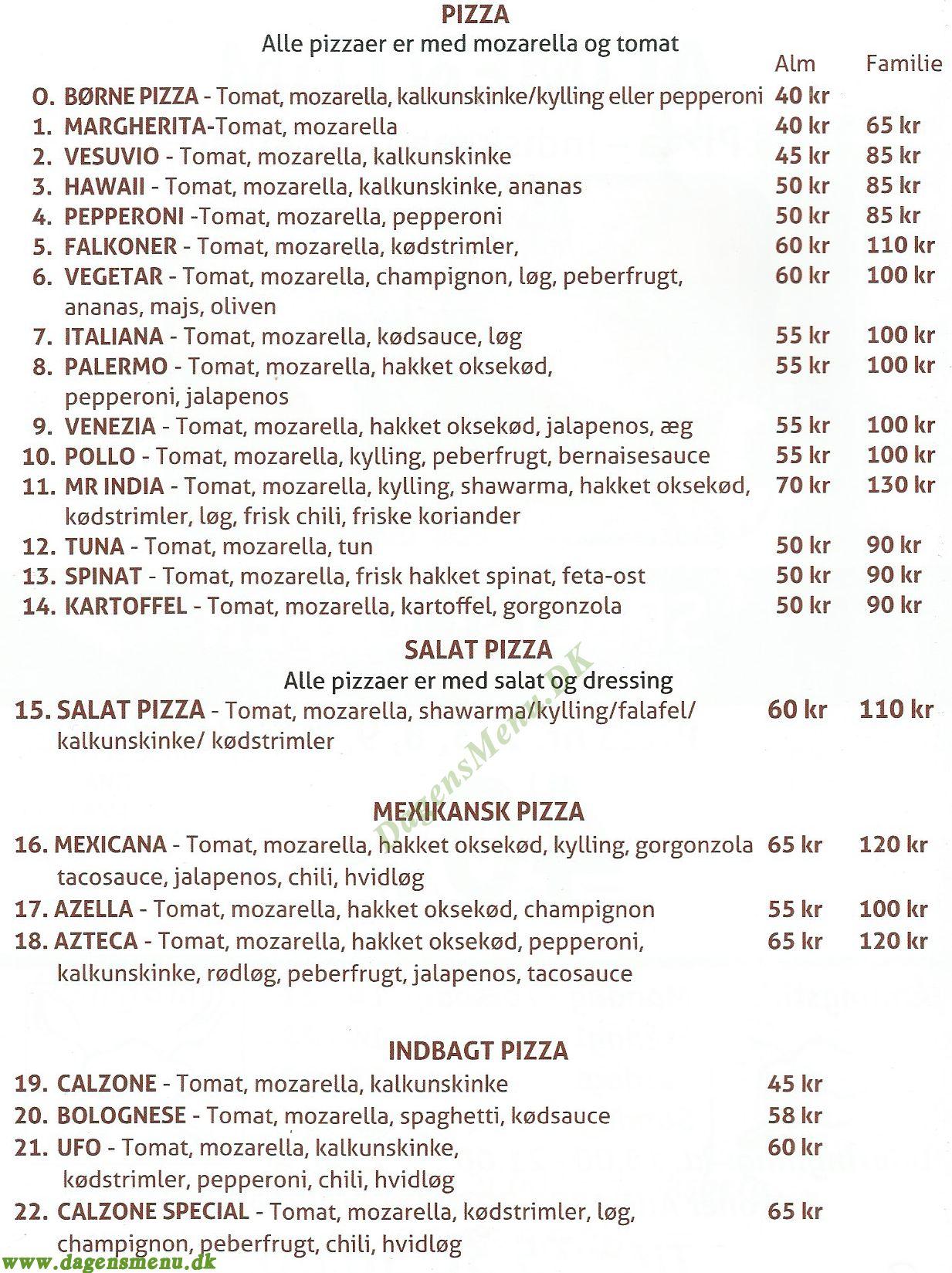 ALIMENTUM PIZZA - INDISK MAD - Menukort