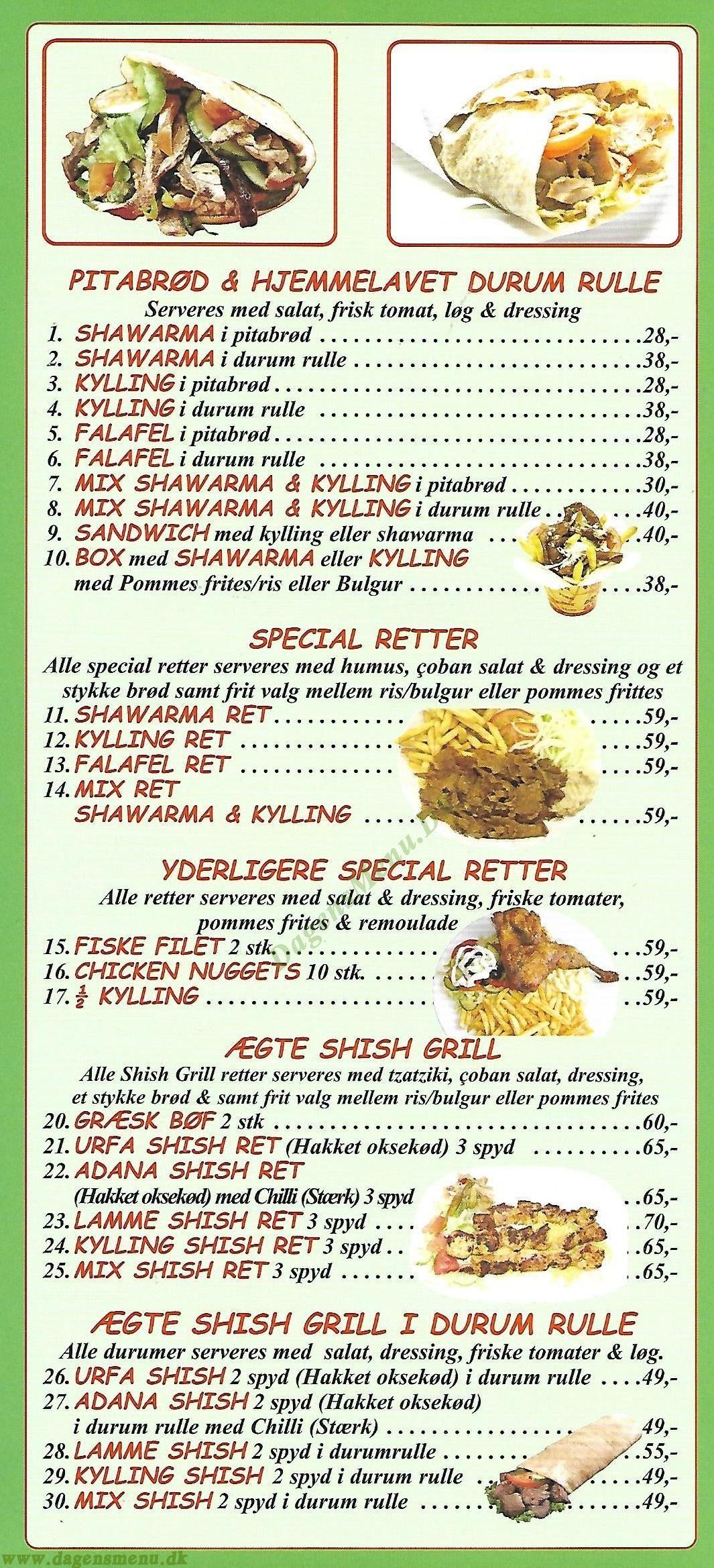 Sangul Kebab Menukort