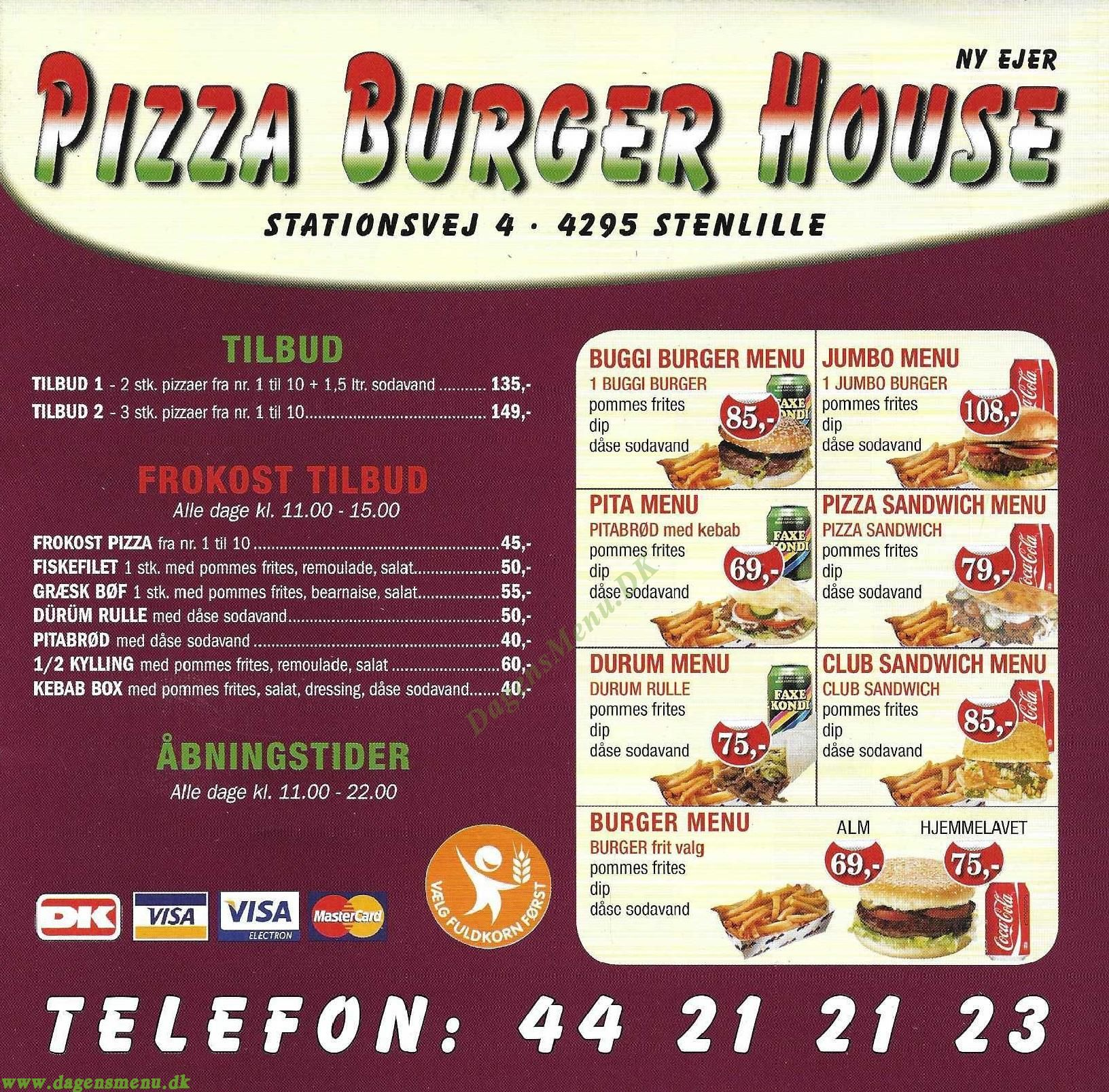 STENLILLE PIZZA BURGER HOUSE - Menukort
