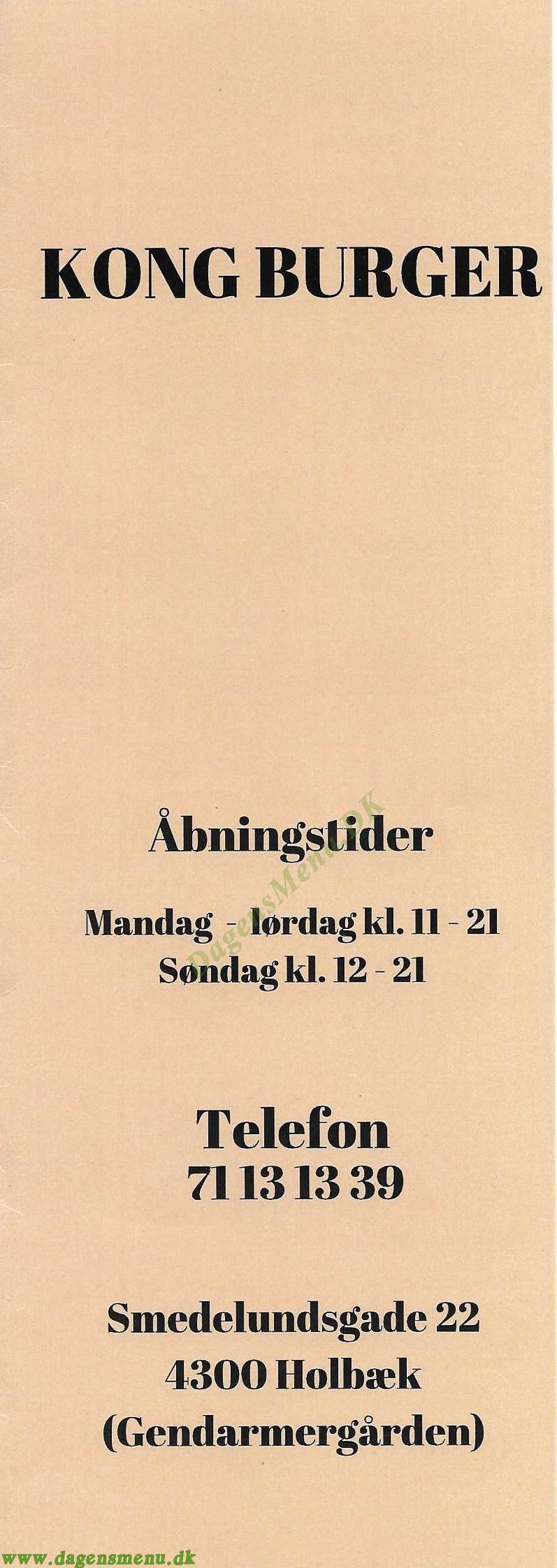 KONG BURGER & SANDWICH - Menukort