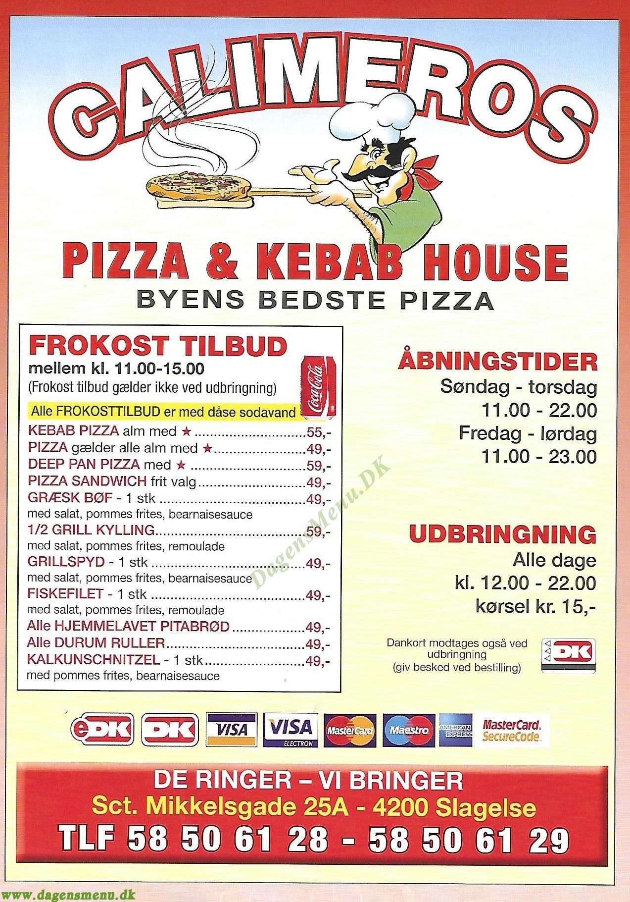CALIMEROS PIZZA & KEBAB HOUSE - Menukort
