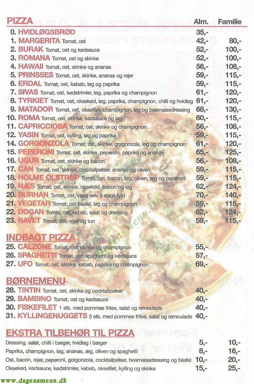 Dogan`s pizza & grill - Menukort