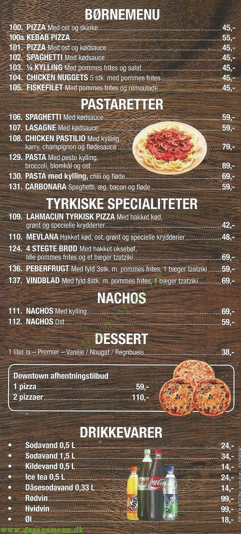 DOWNTOWN PIZZA - Menukort