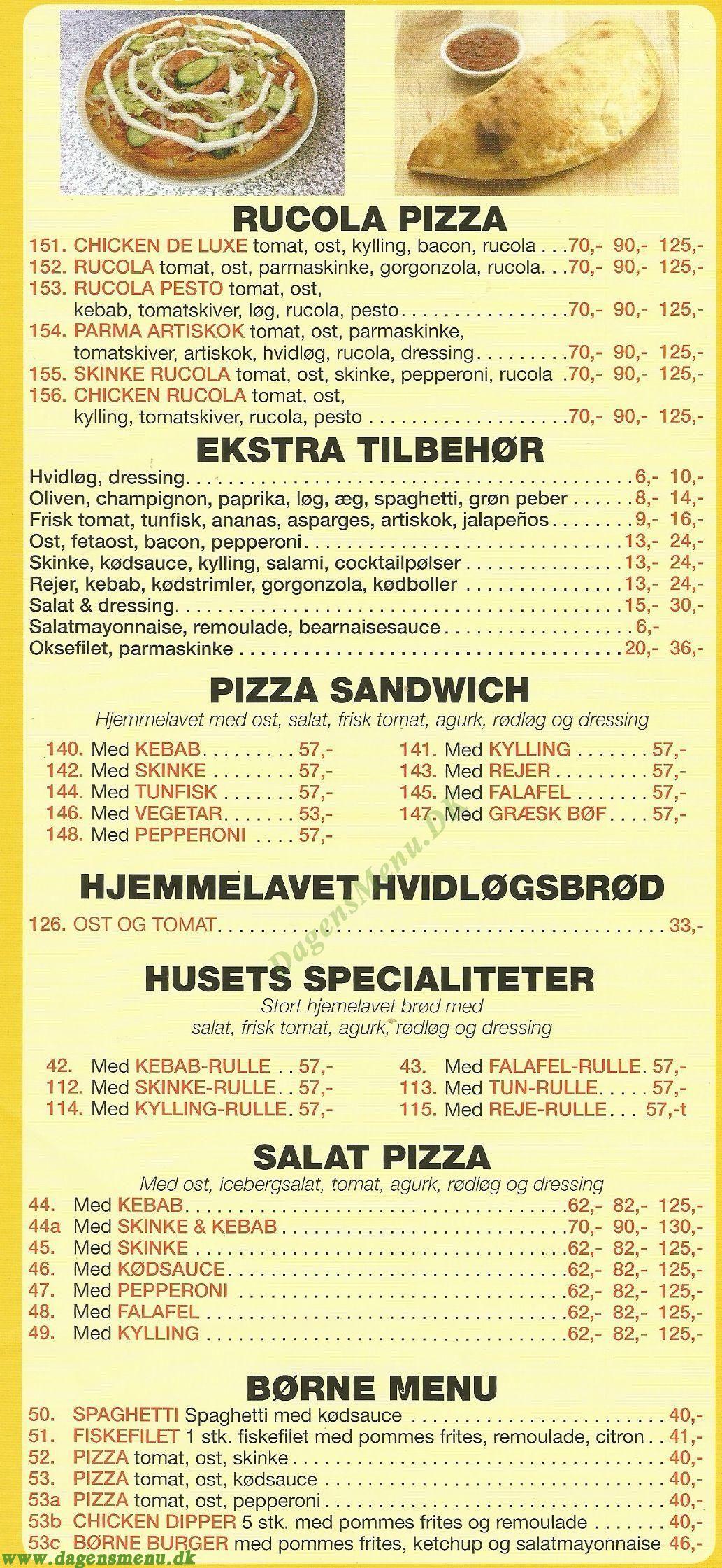 Mama Olga's Pizzaria - Menukort