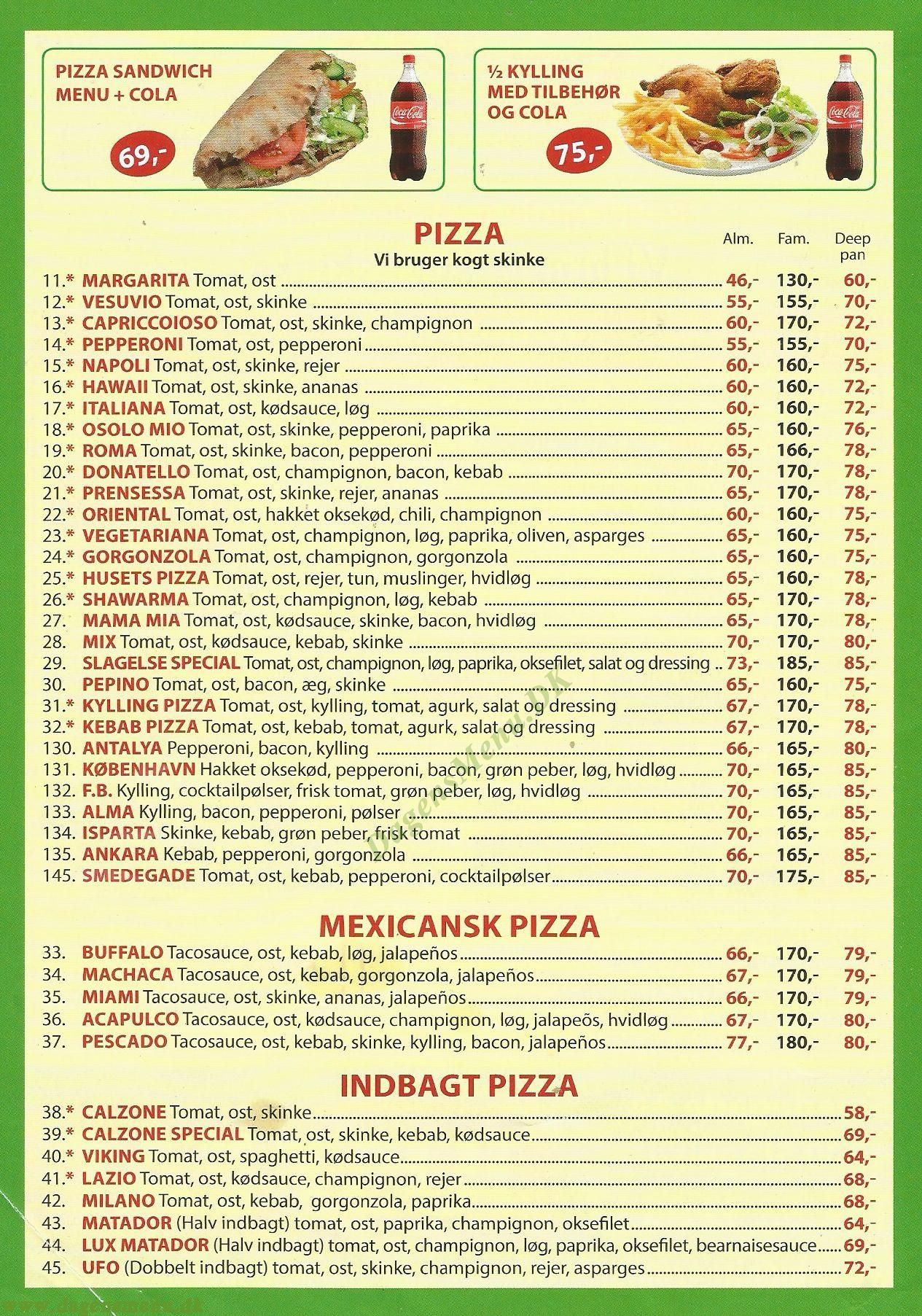 Big Bite Pizza - Menukort