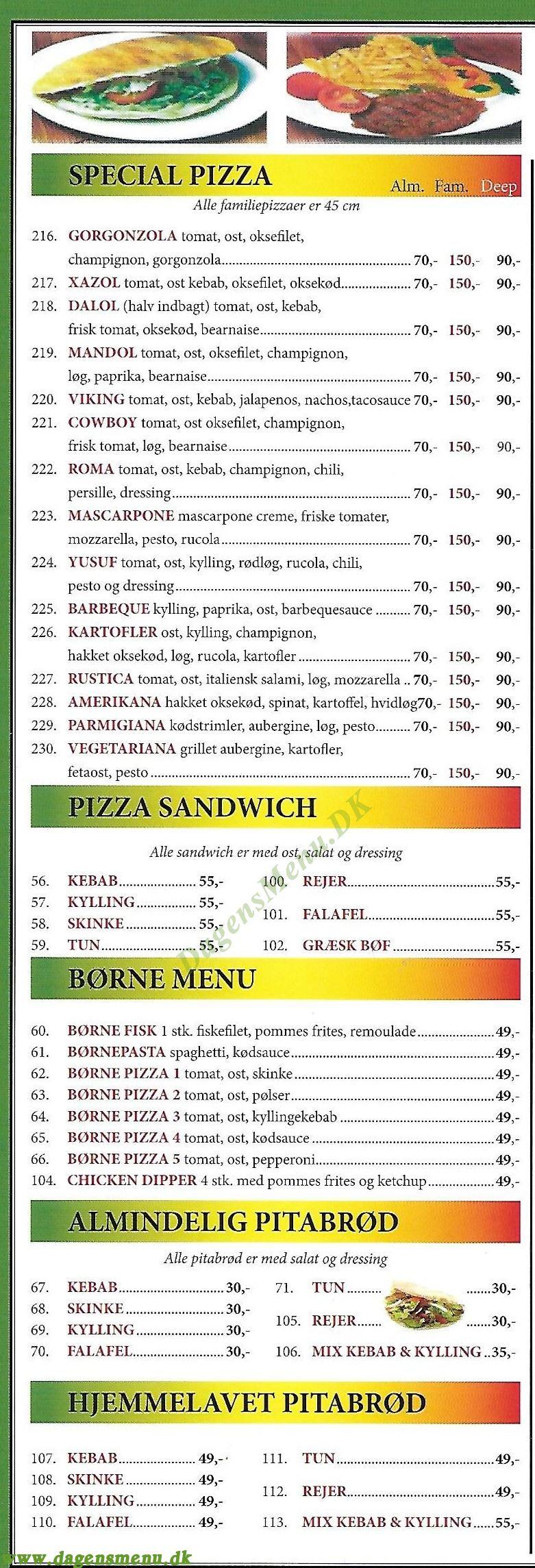 PIZZA VERDEN RESTAURANT - Menukort