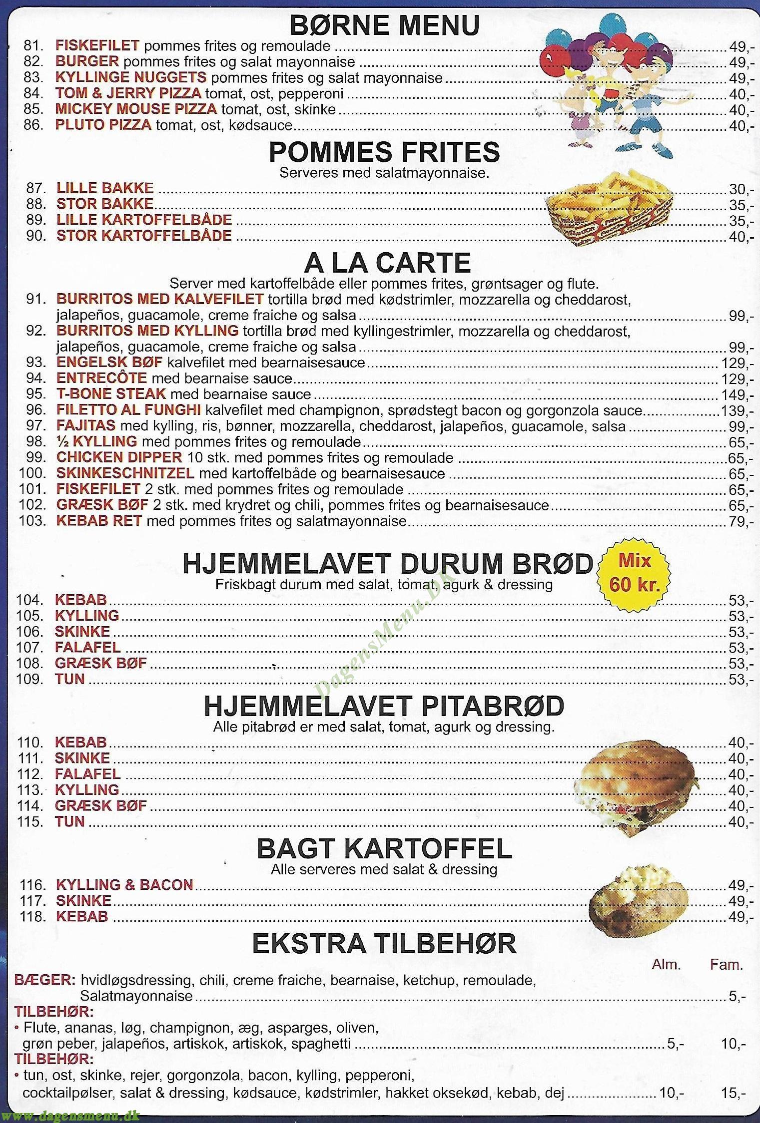 Luccas pizza Menukort