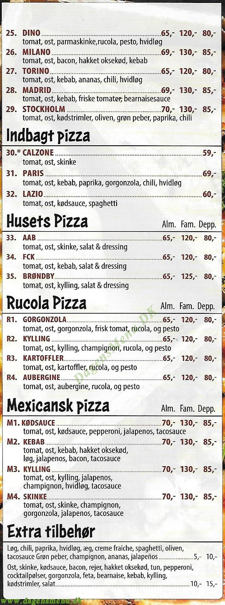 Luccas Cafe & Pizza - Menukort