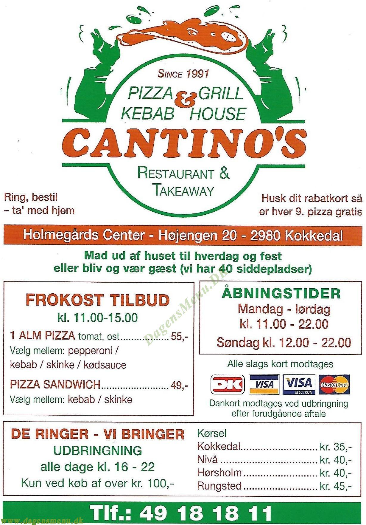 Cantino's Pizzabar - Menukort