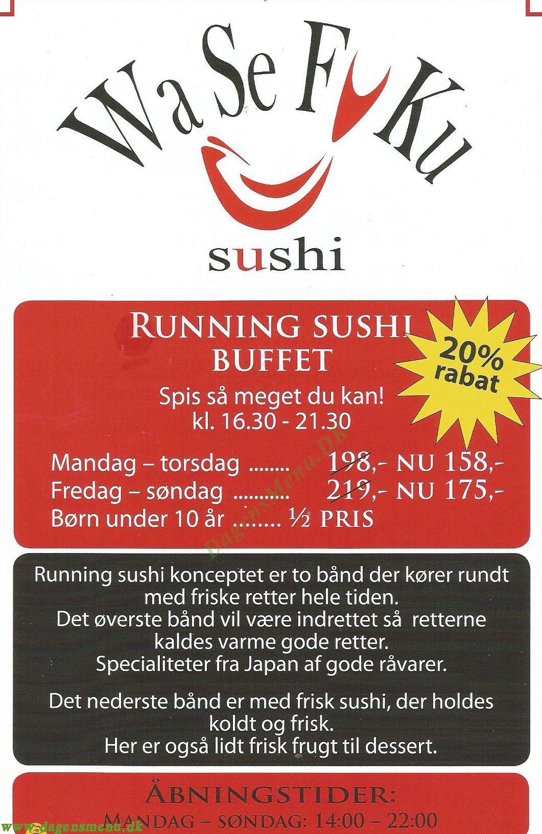 WA See Fu Hu Sushi - Menukort