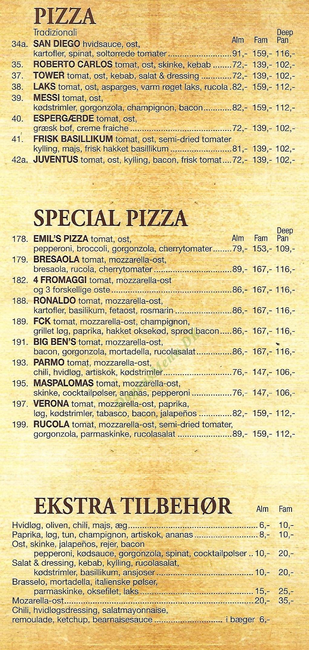 Big Bens Pizzaria - Menukort