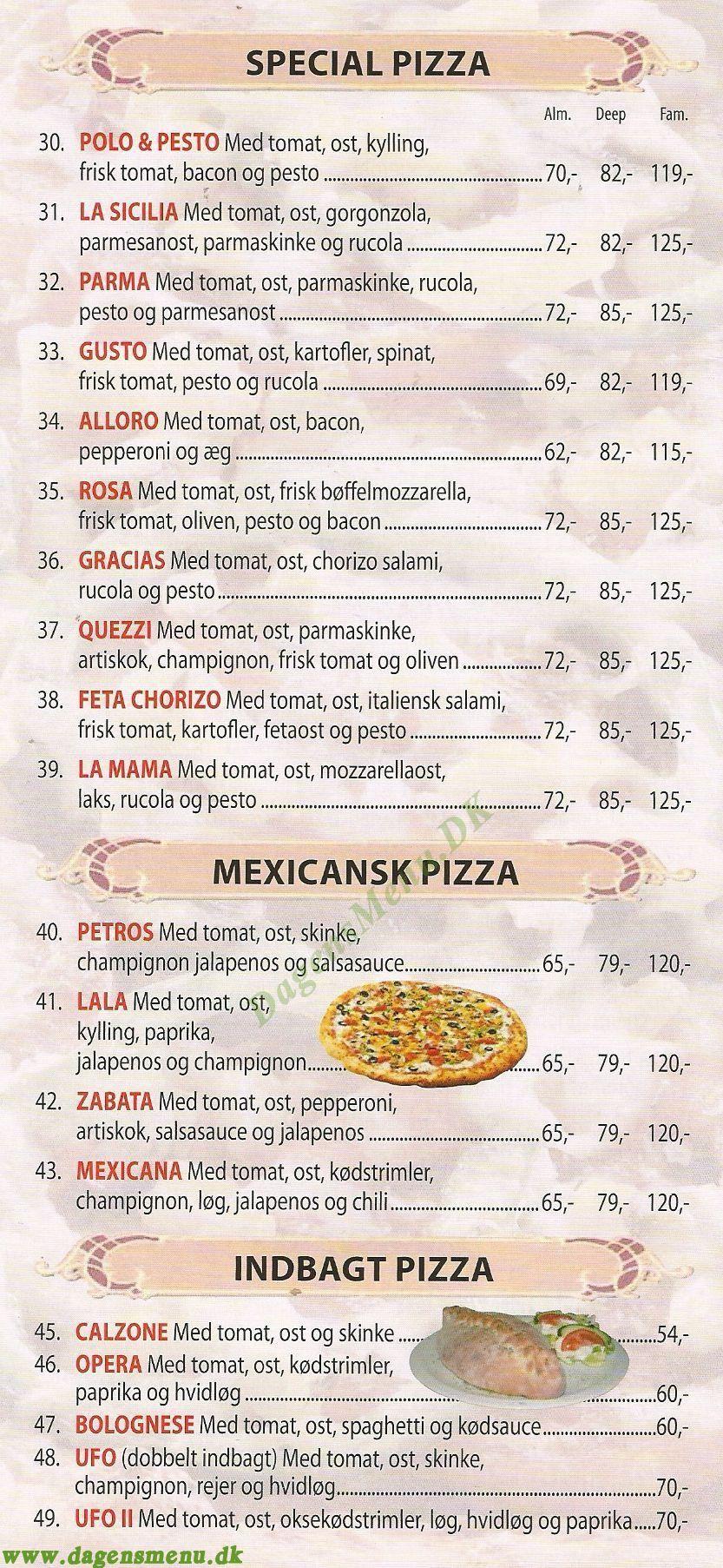 Mamma Mia Pizza Cafe - Menukort