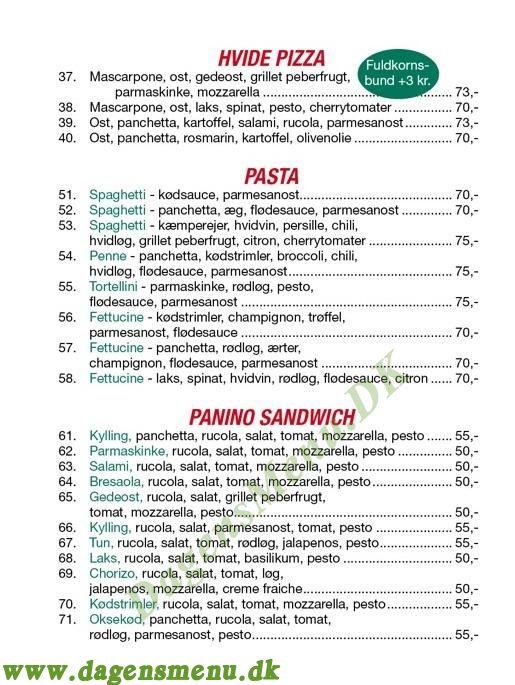 Gastro-Pizzeria - Menukort