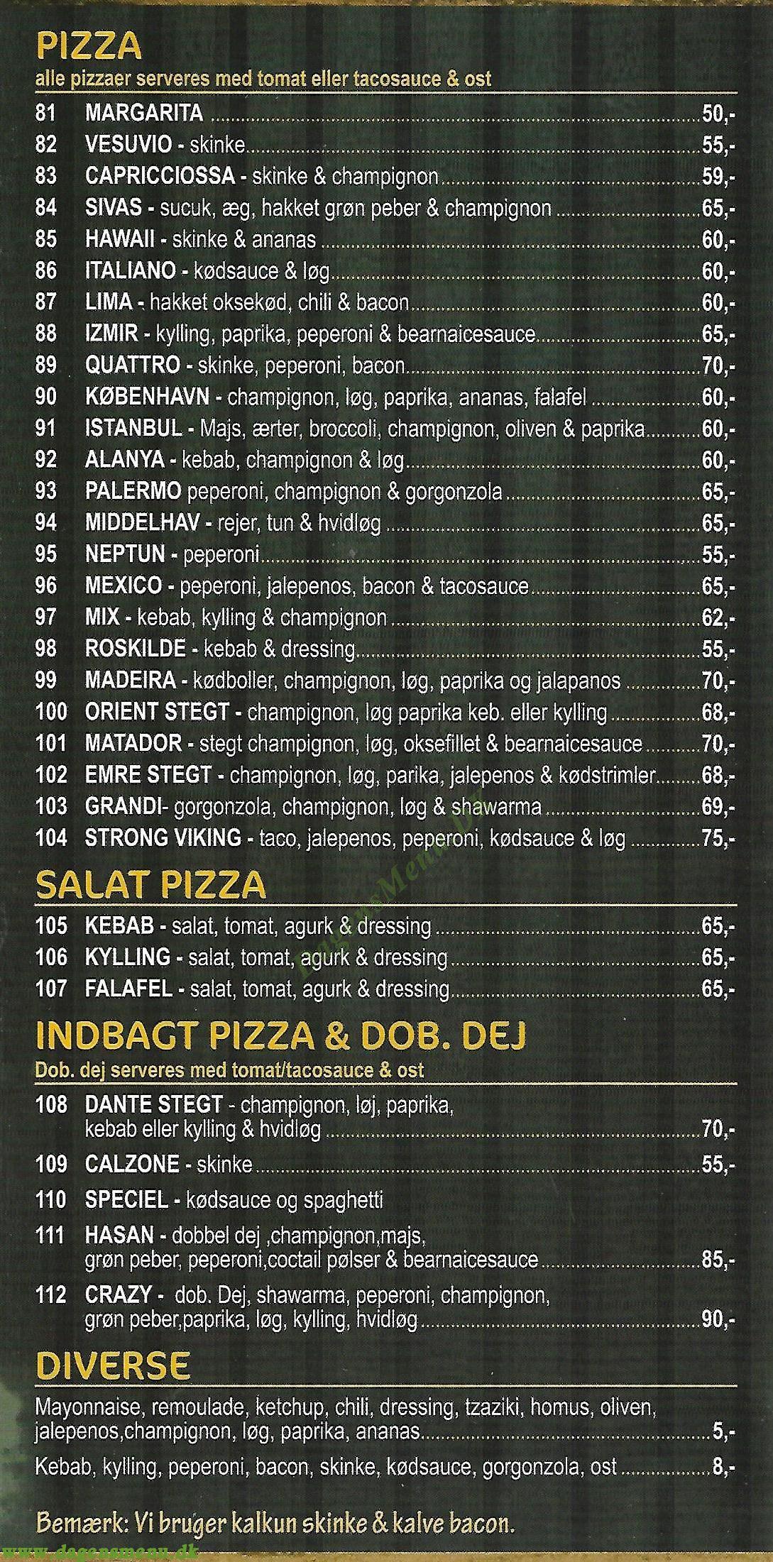 Roskilde kebab & grill house - Menukort