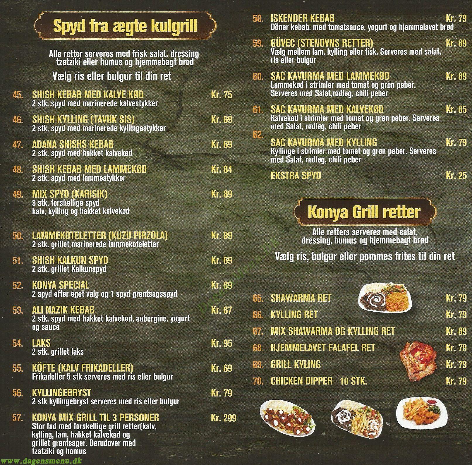 Konya Café & Restaurant - Menukort