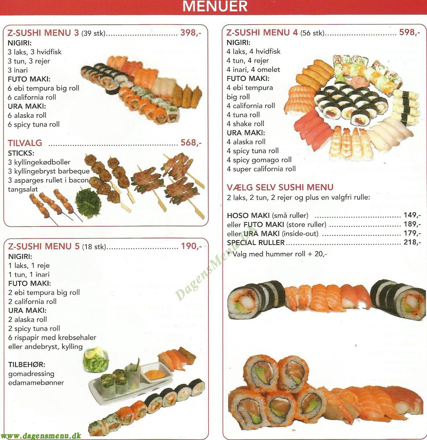 Z-SUSHI Take Away - Menukort