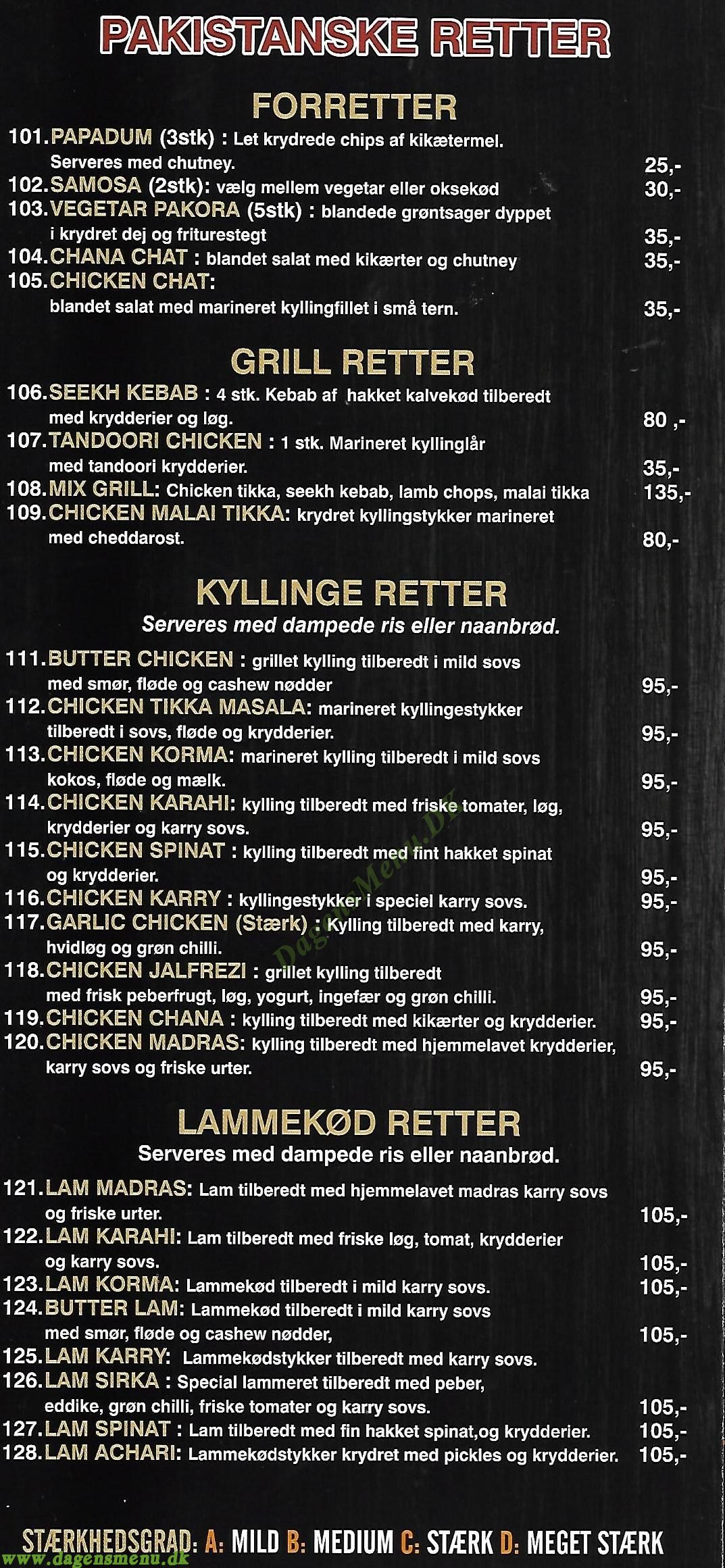 Columbia Chicken & Burger Amager - Menukort
