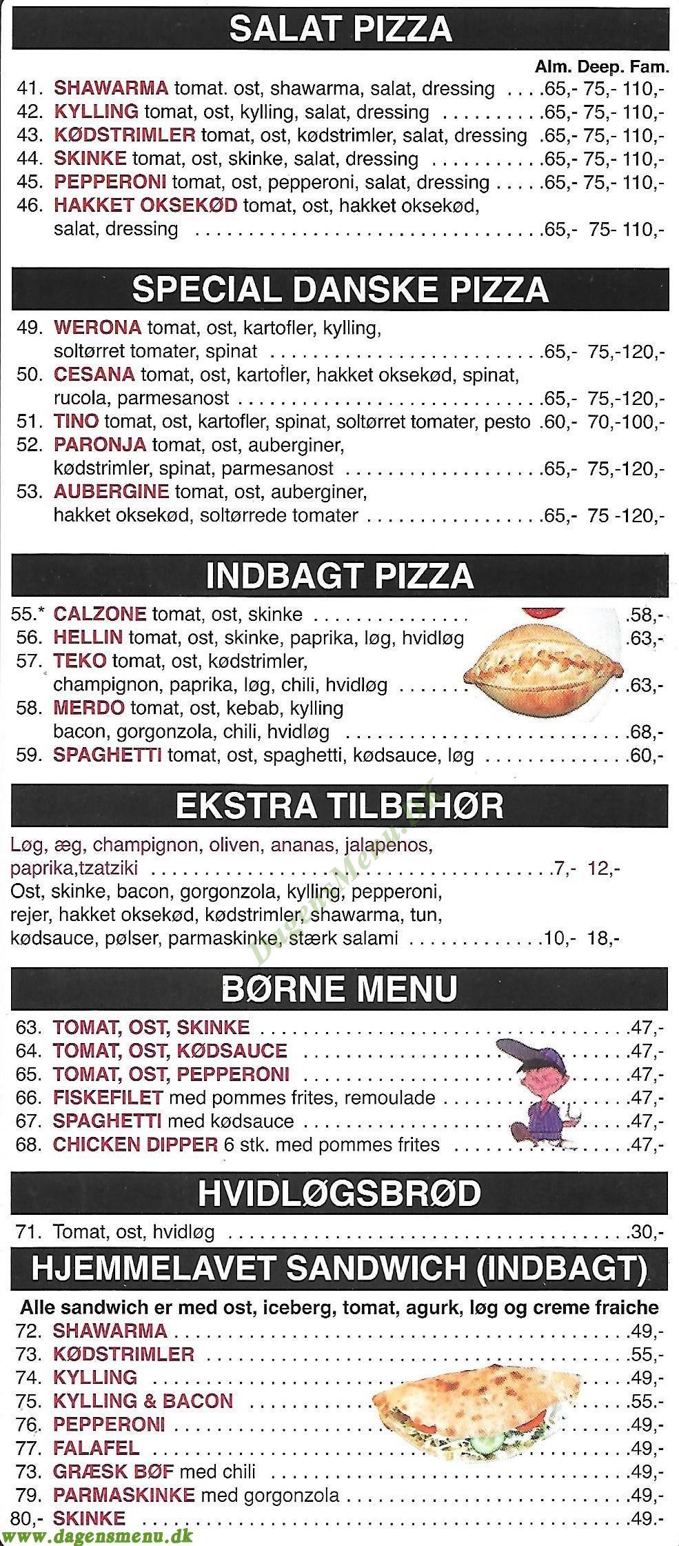 Parma Pizza & Grillbar - Menukort
