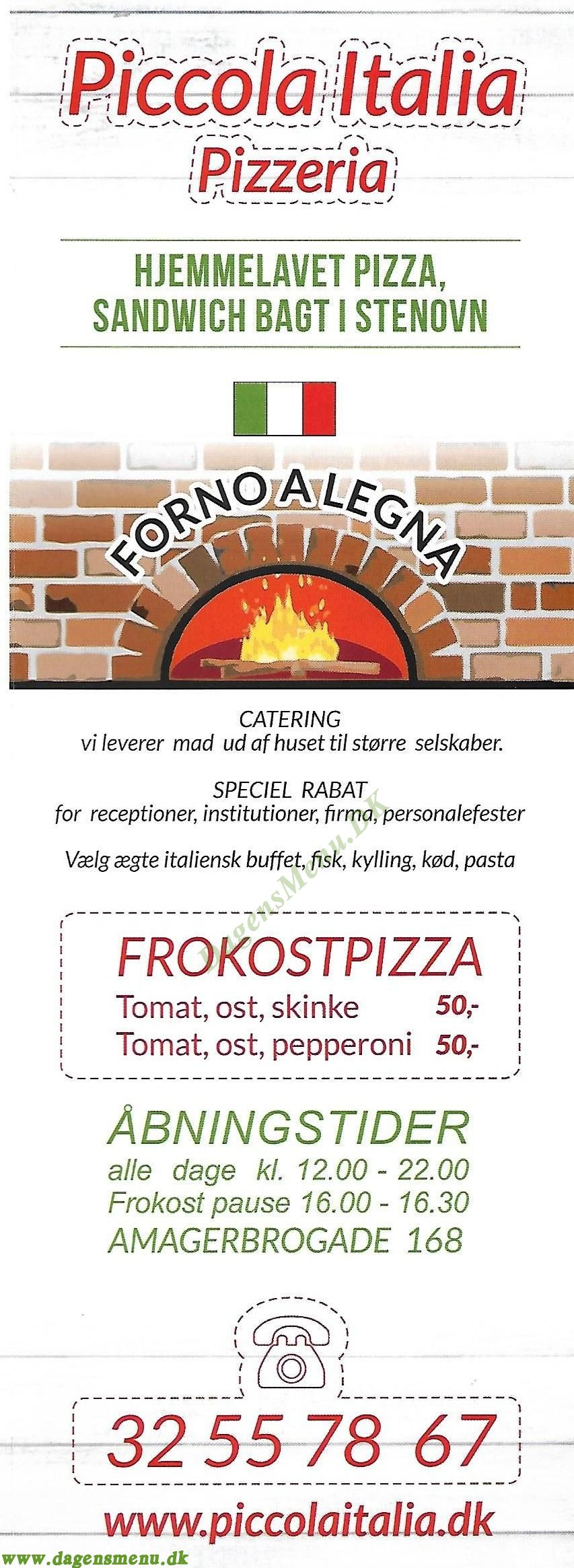 Piccola italia pizzeria - Menukort