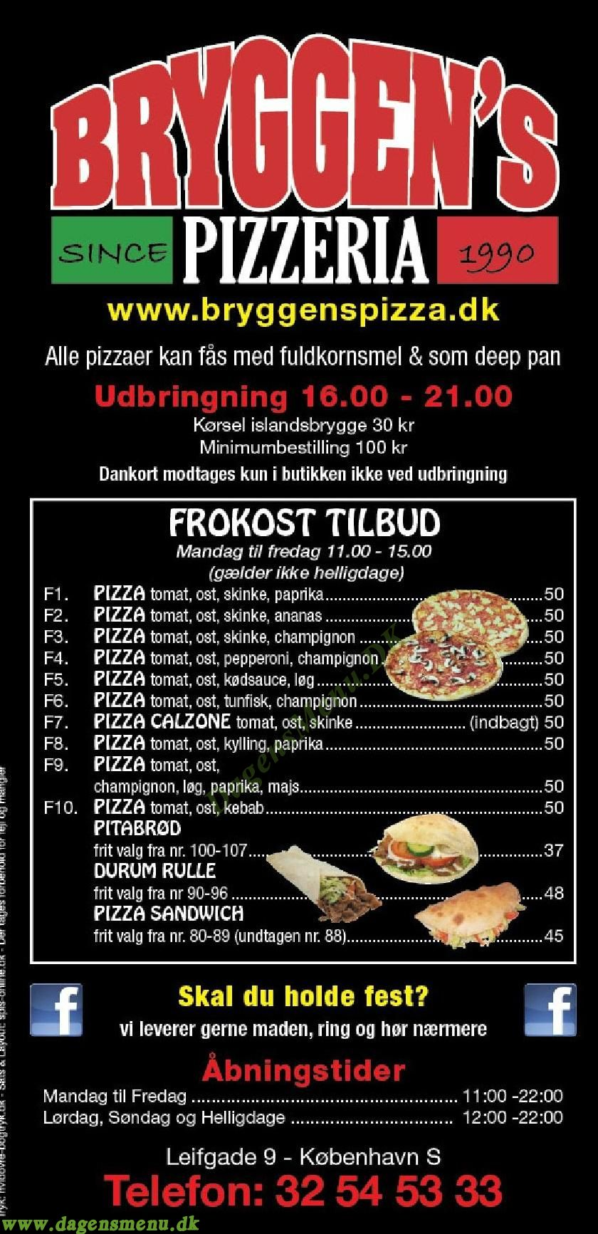 Bryggens Pizzeria - Menukort
