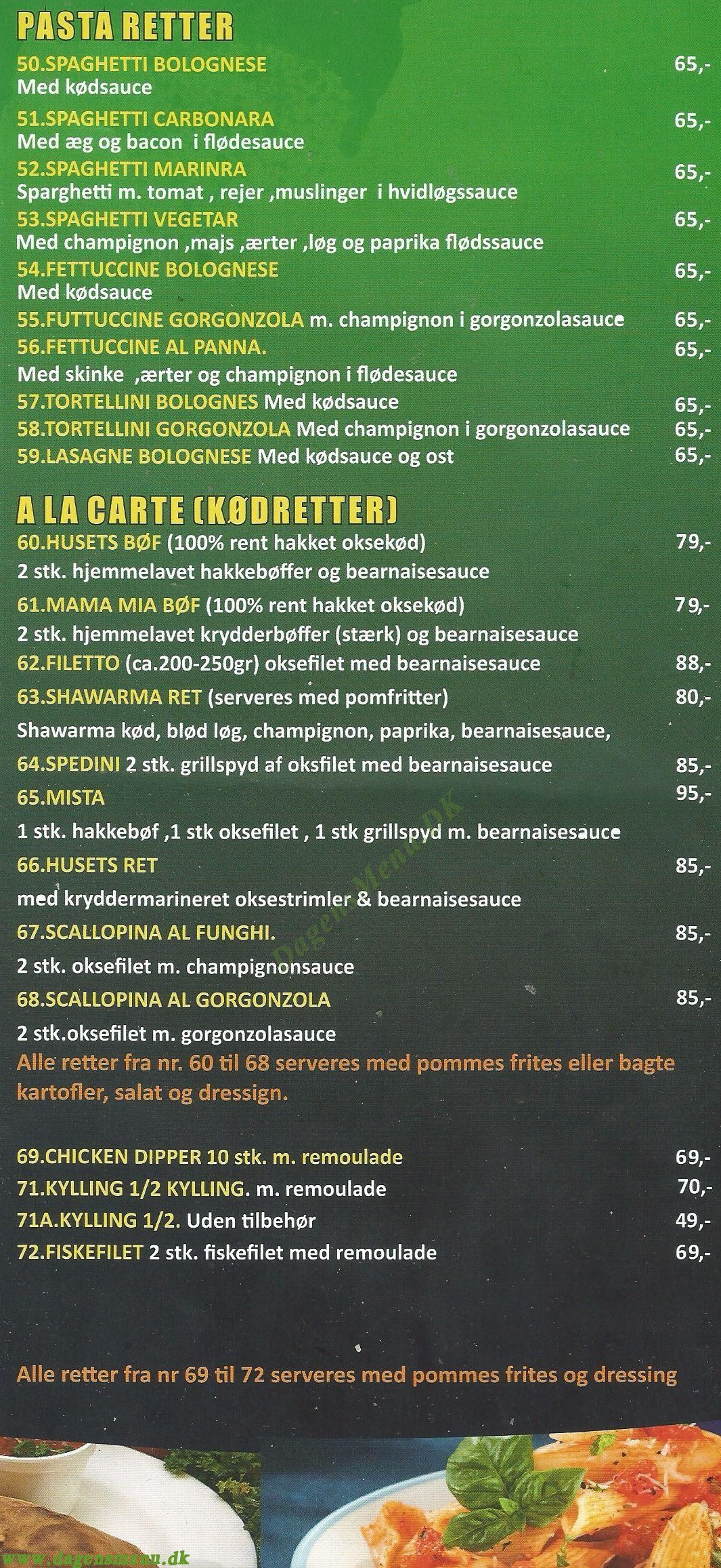 Bryggens Pizza Menukort