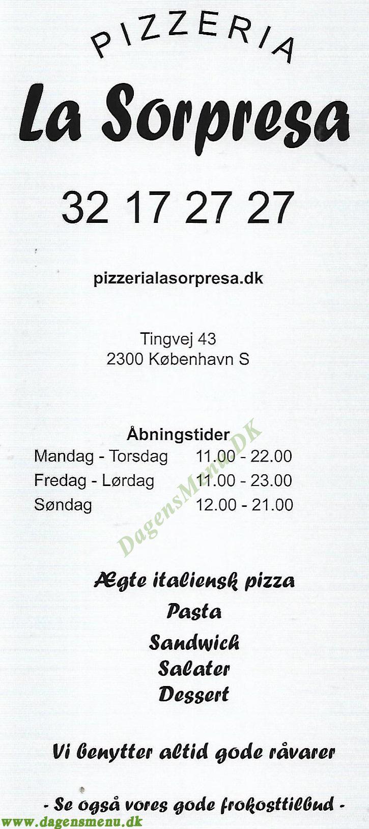Pizza La Sorpresa - Menukort