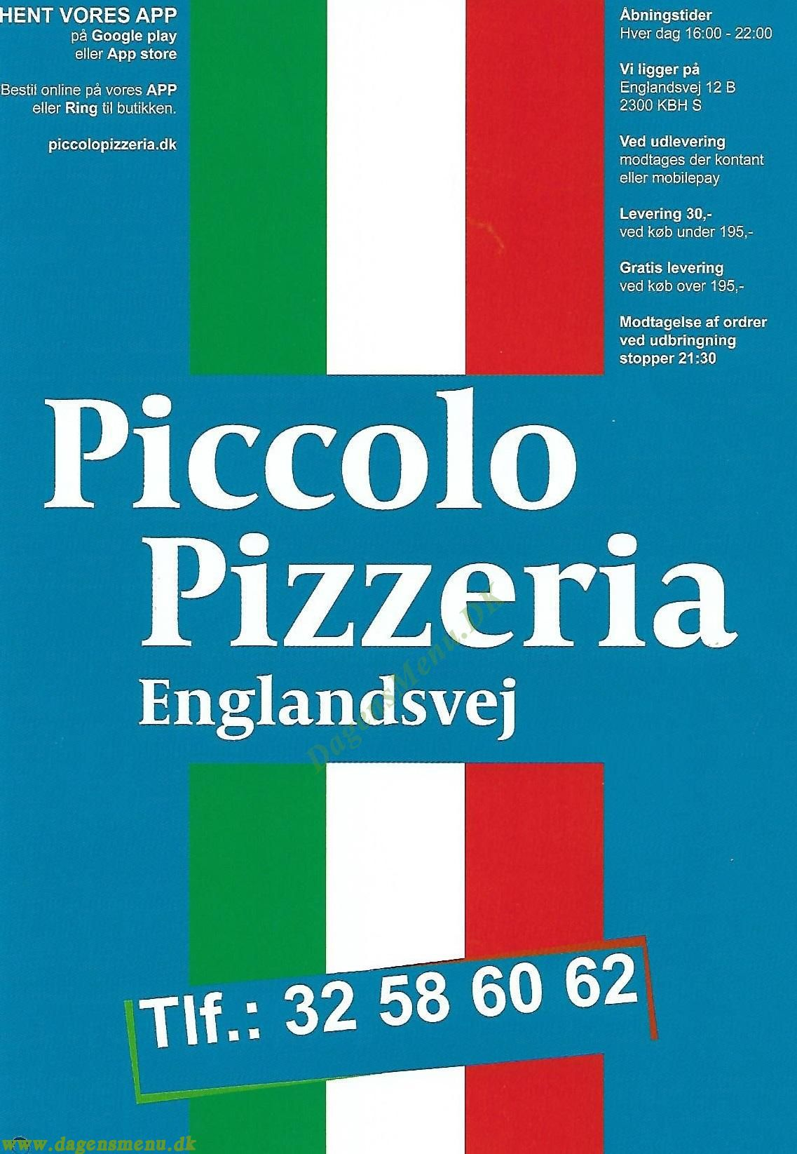 Piccolo Pizza Englandsvej - Menukort