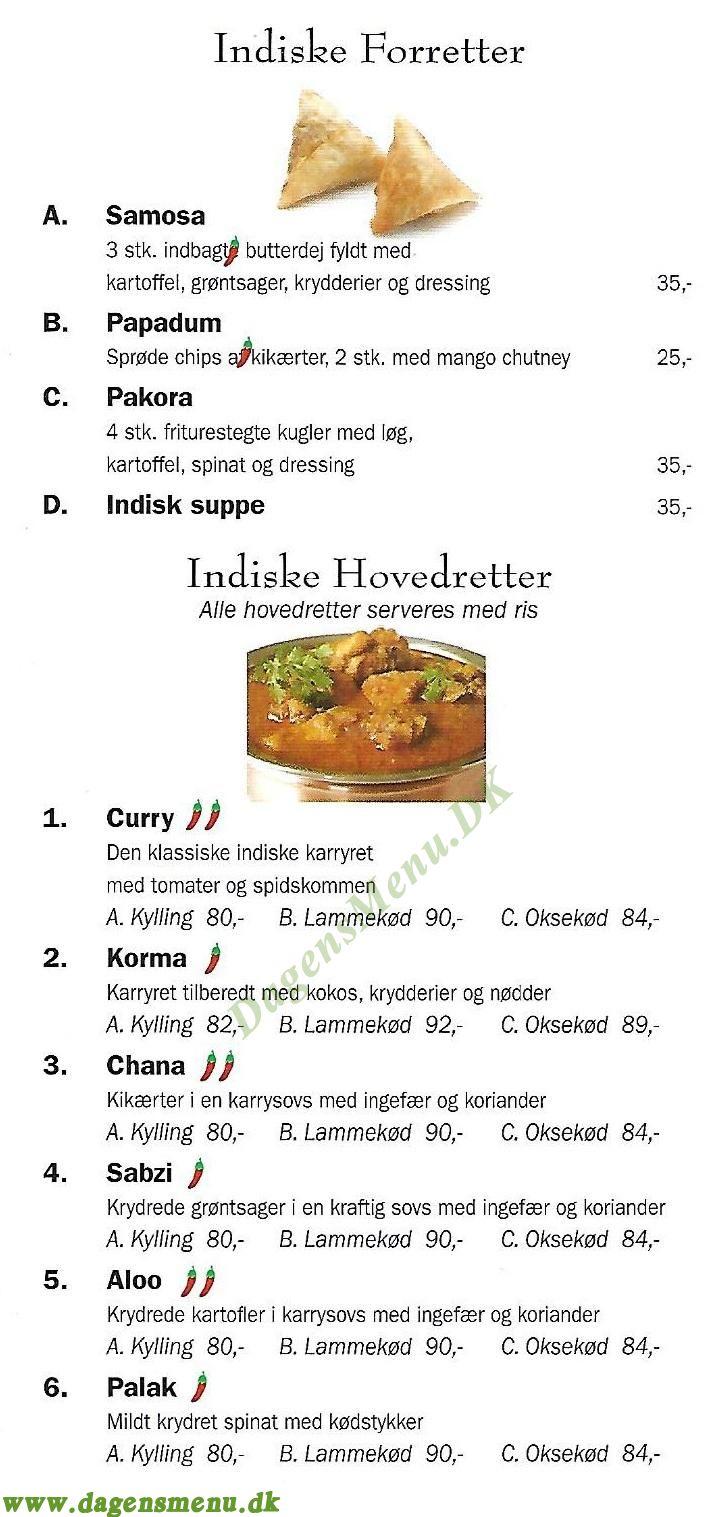 Indian Curry Takeaway - Menukort