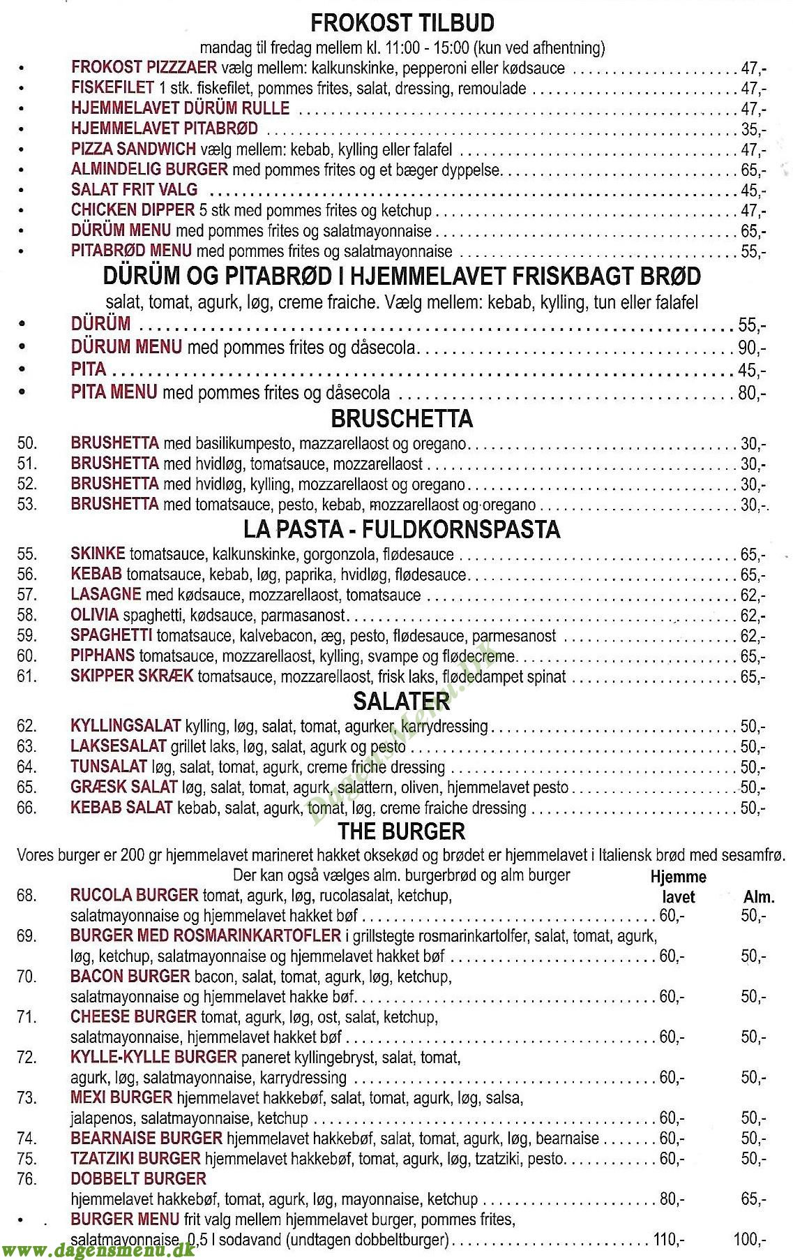 The Pizza & Sandwich - Menukort