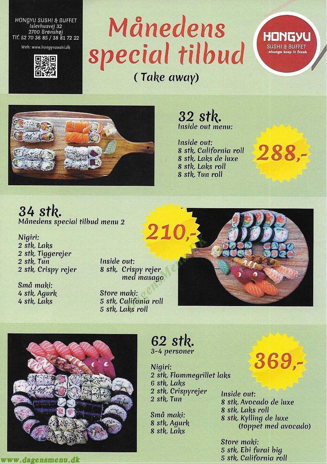 Hongyu Sushi & Buffet - Menukort