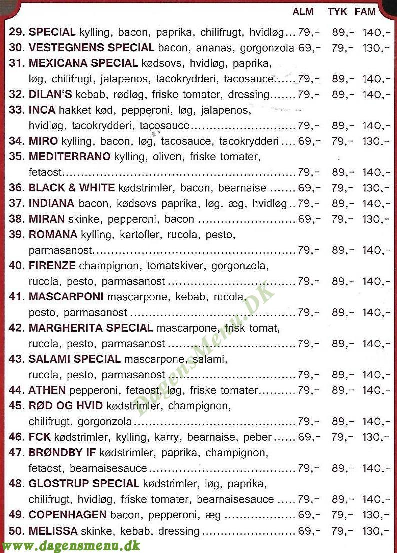 Diego's Pizza - Menukort