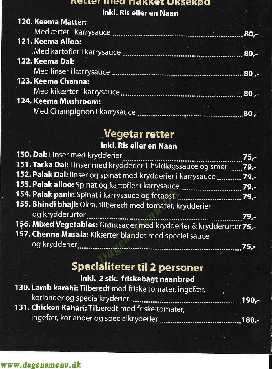 Vivah Restaurant - Menukort