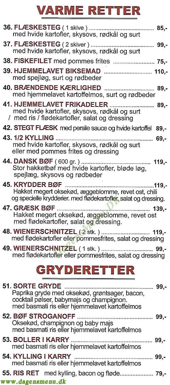 Den Sorte Gryde Søborg - Menukort
